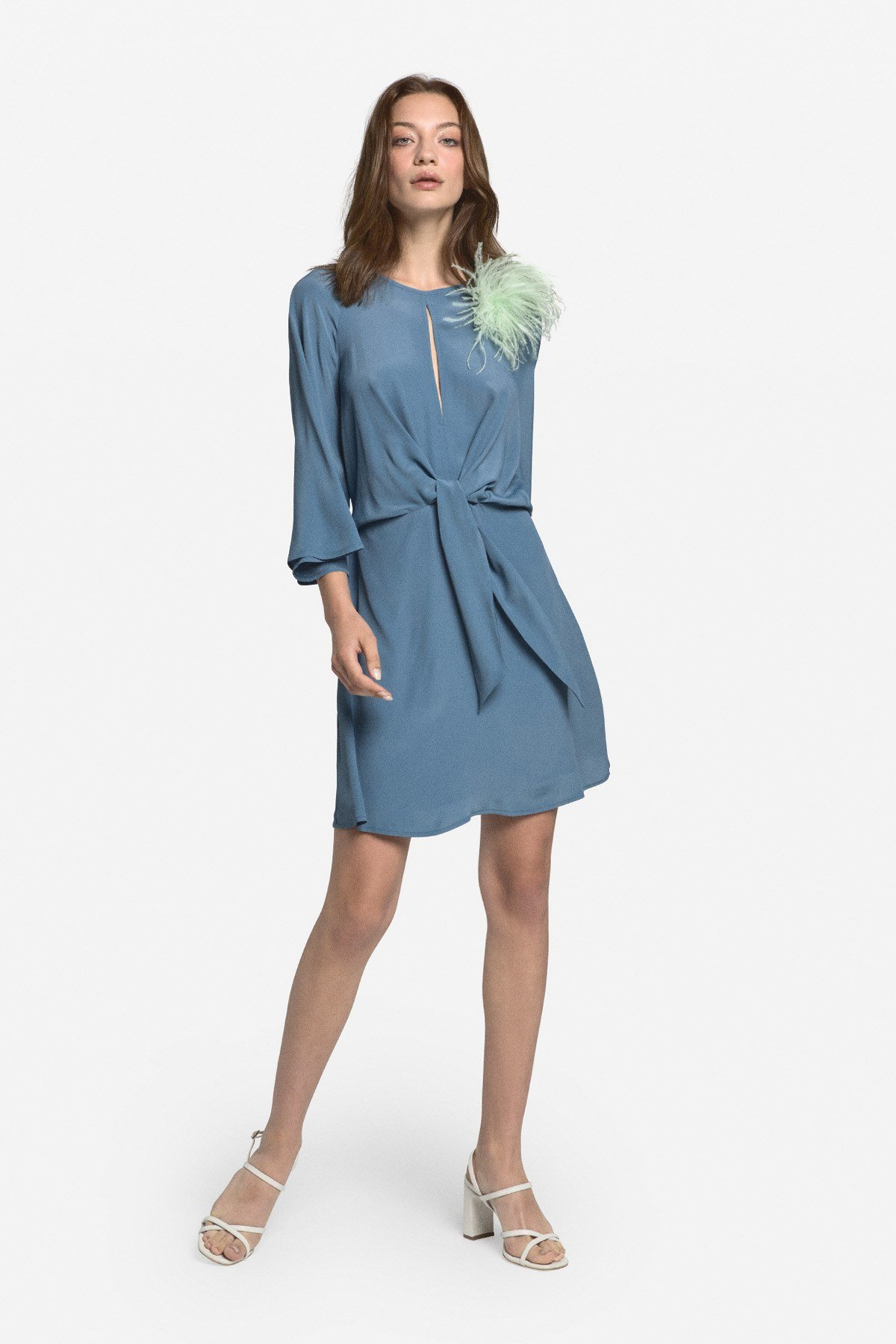 Fluid mini dress with knot