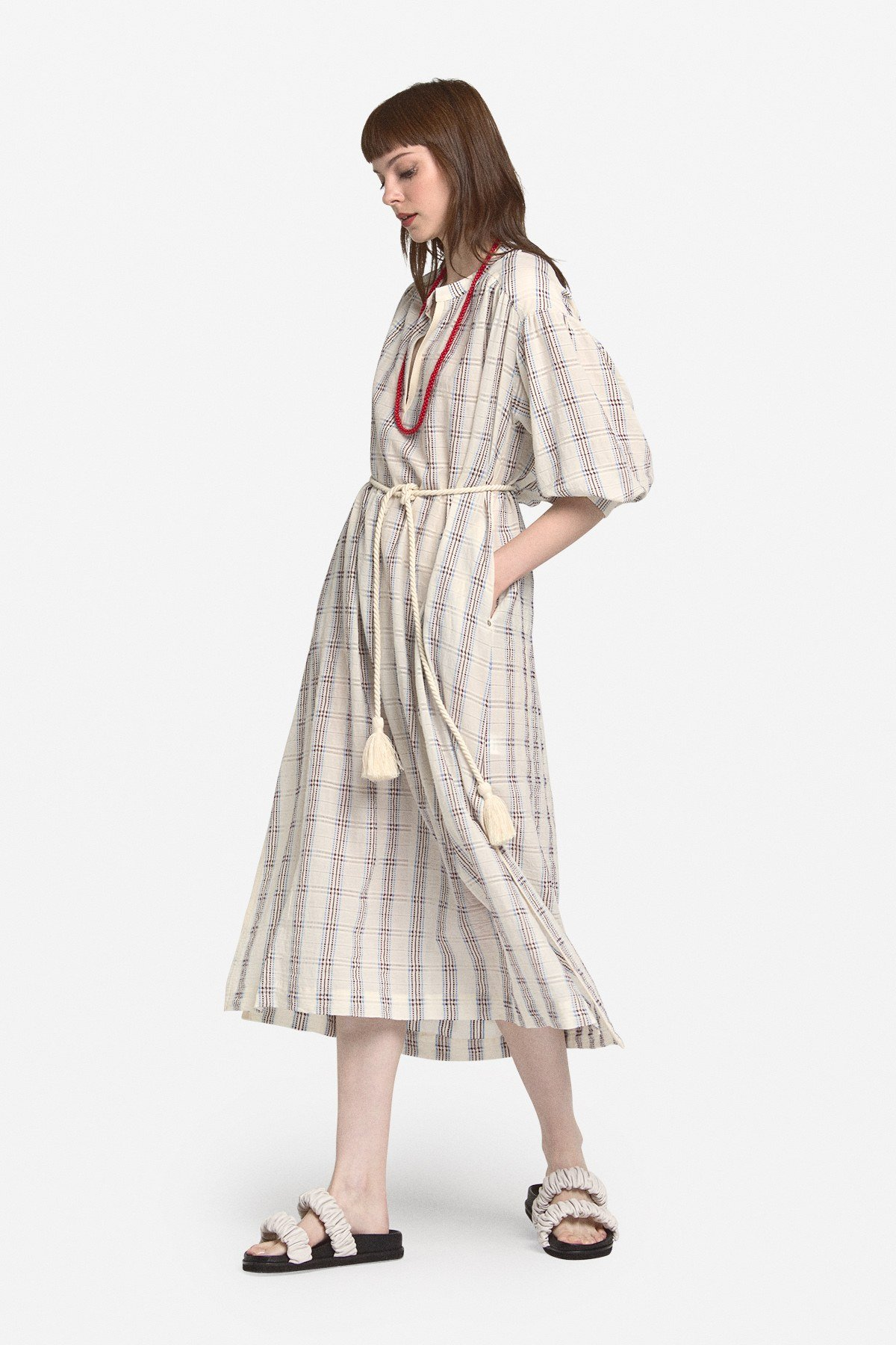 Cotton midi dress with cord