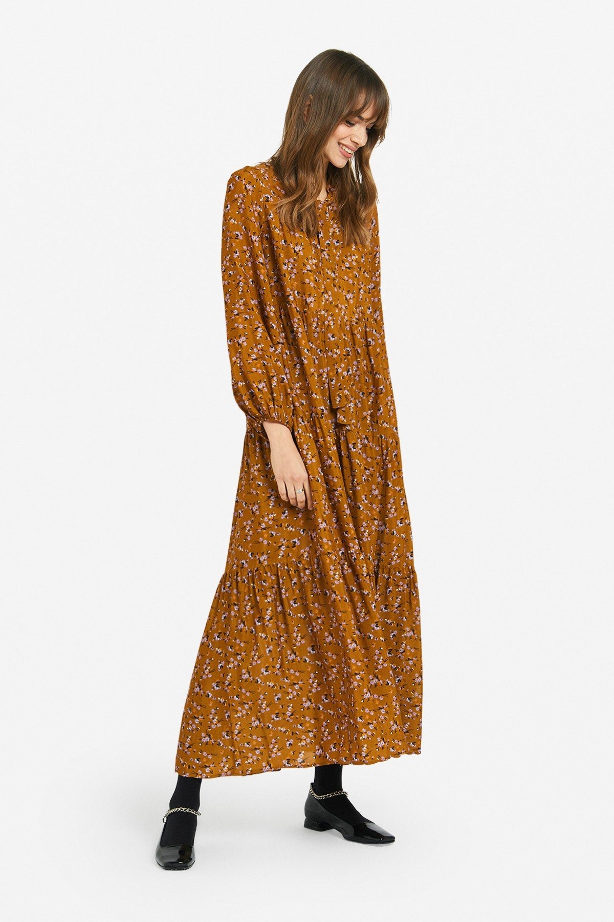 Viscose long dress with foulard neckline