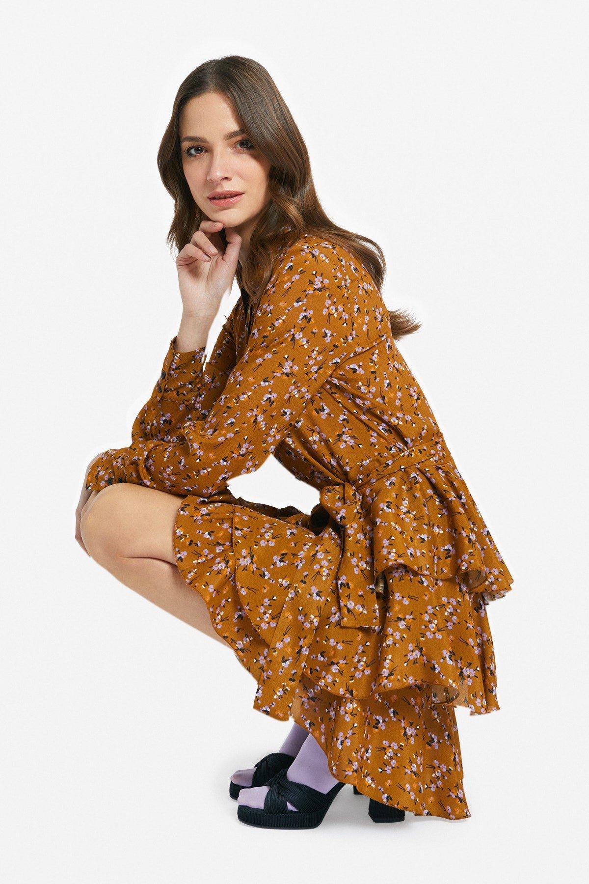Viscose mini dress with ruffle