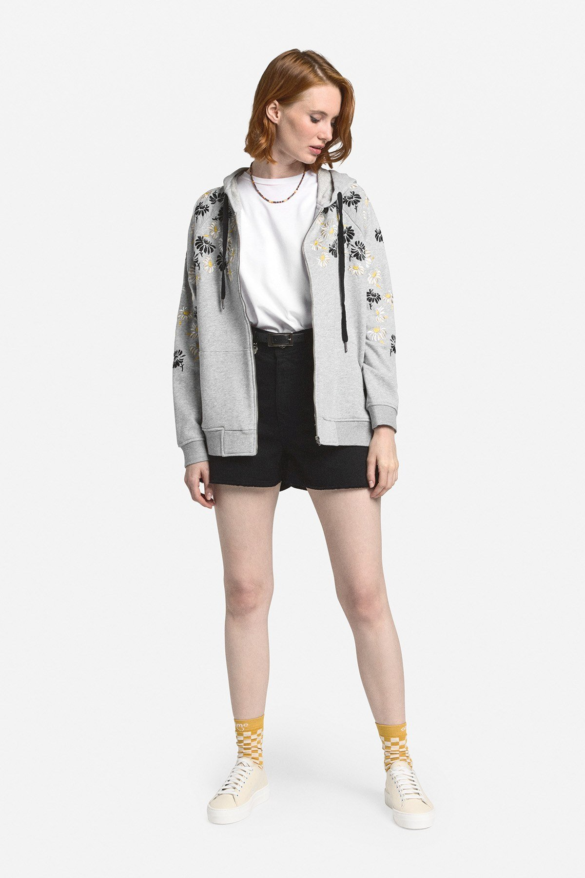 Cotton sweatshirt with zipper
