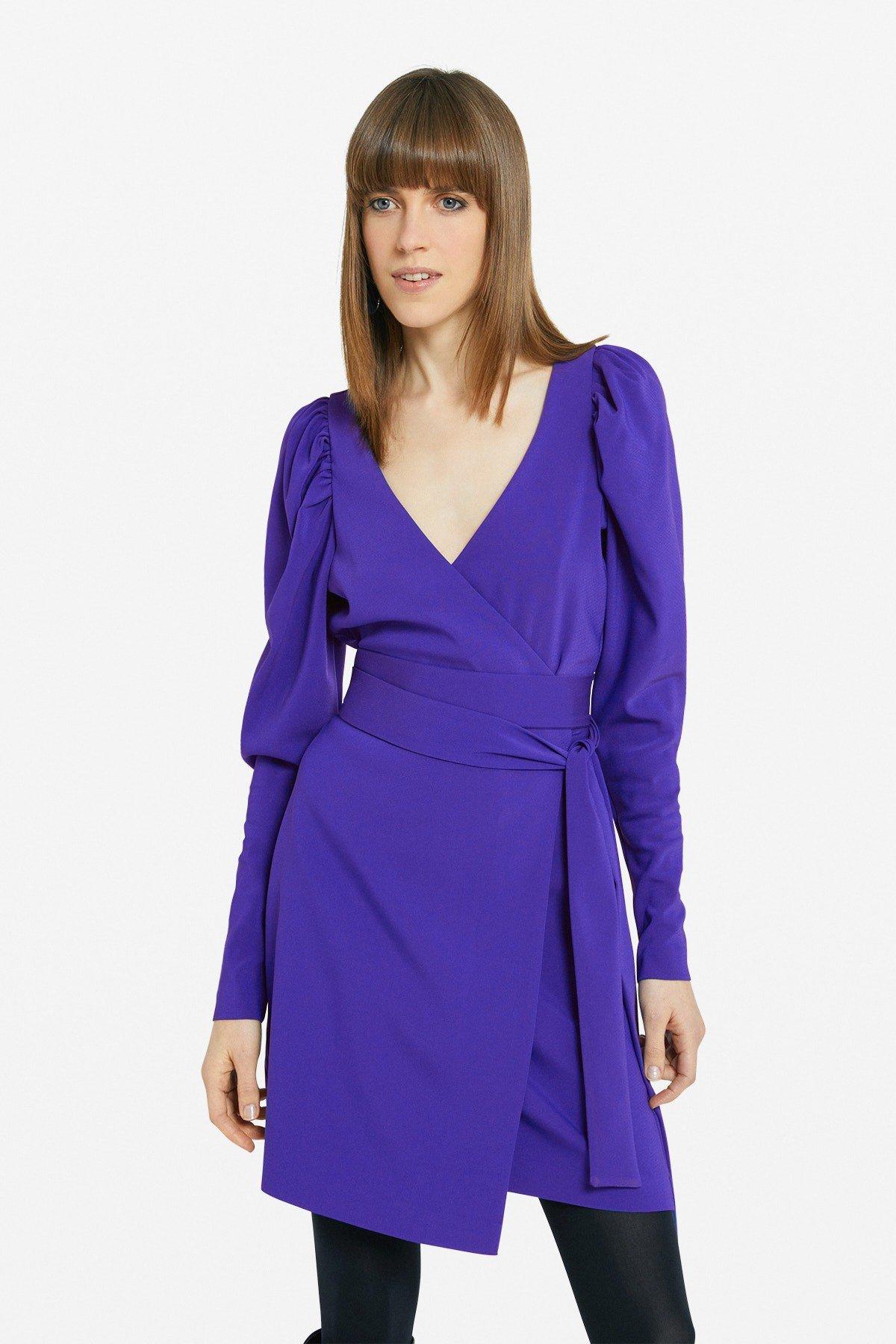 Criss-cross mini dress with sash
