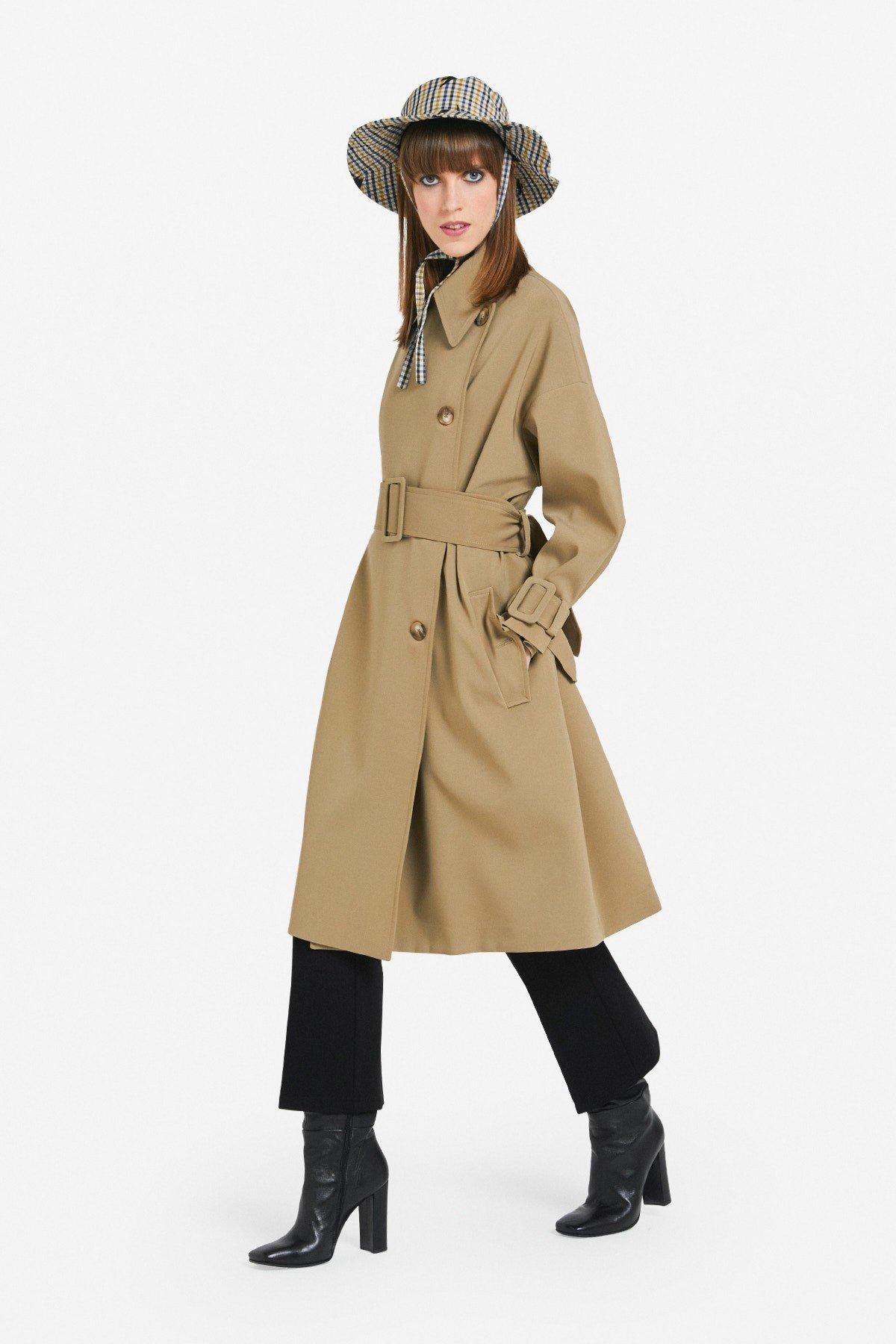 Midi overcoat with belt