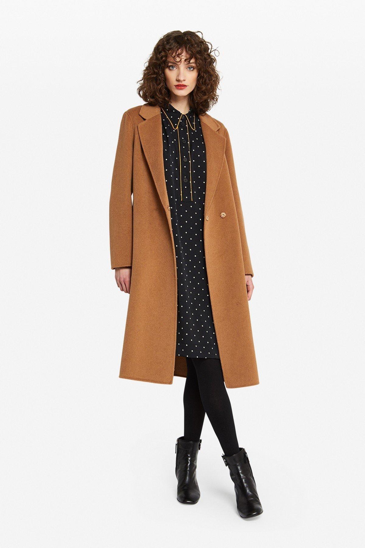 Midi coat with sash