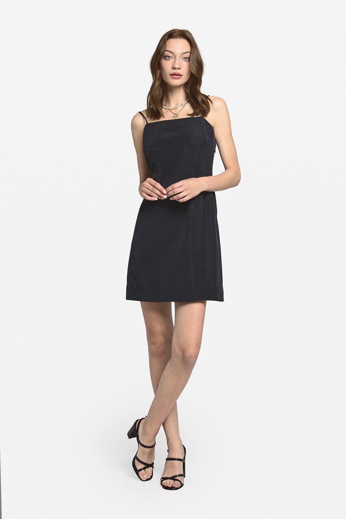Mini dress with straight neckline