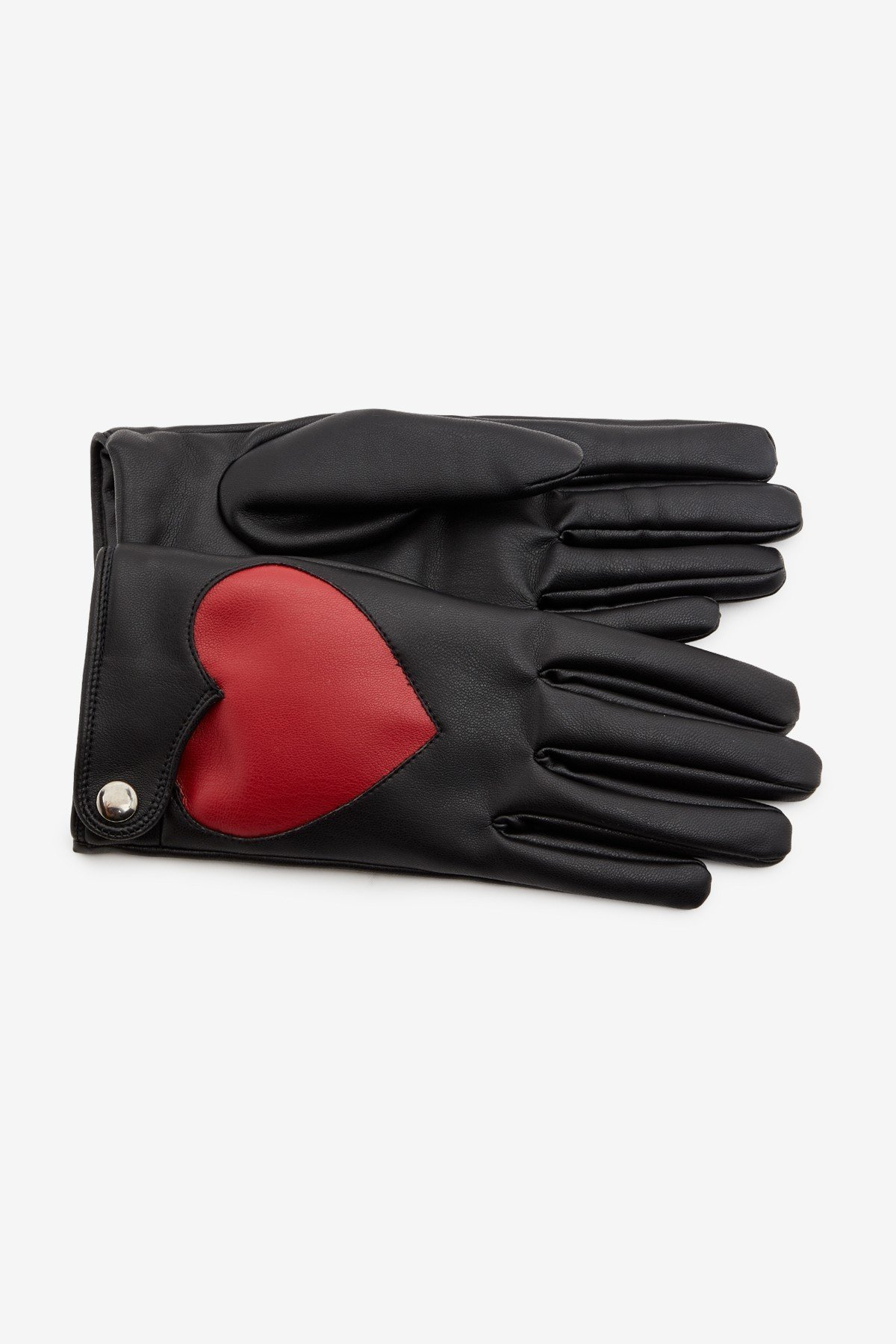 Faux leather gloves with heart