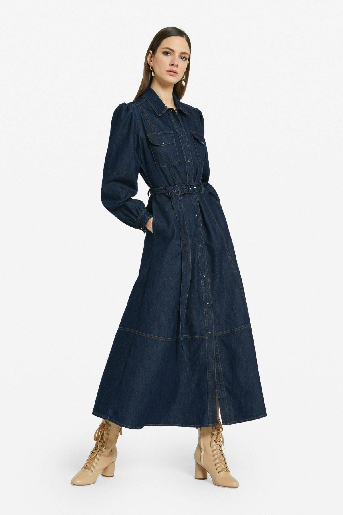Denim chemisier long dress