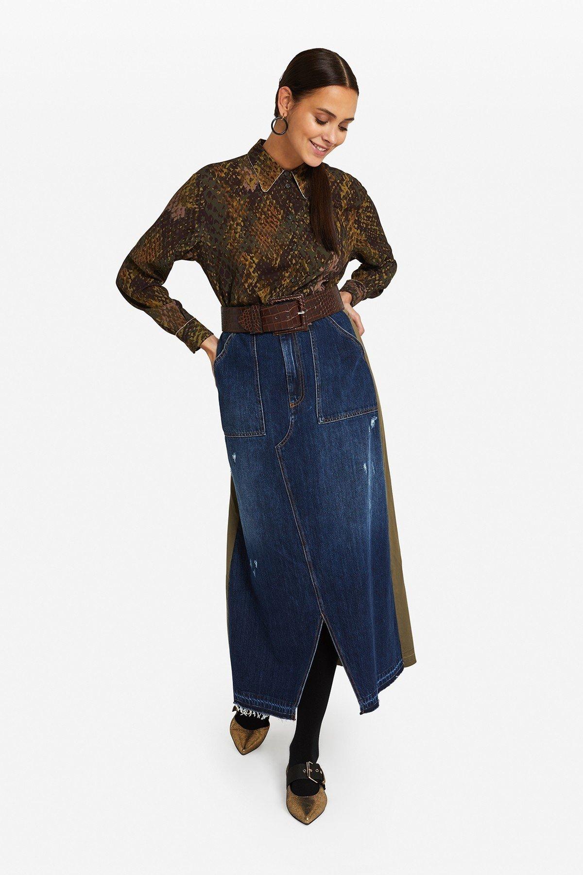 Denim long skirt