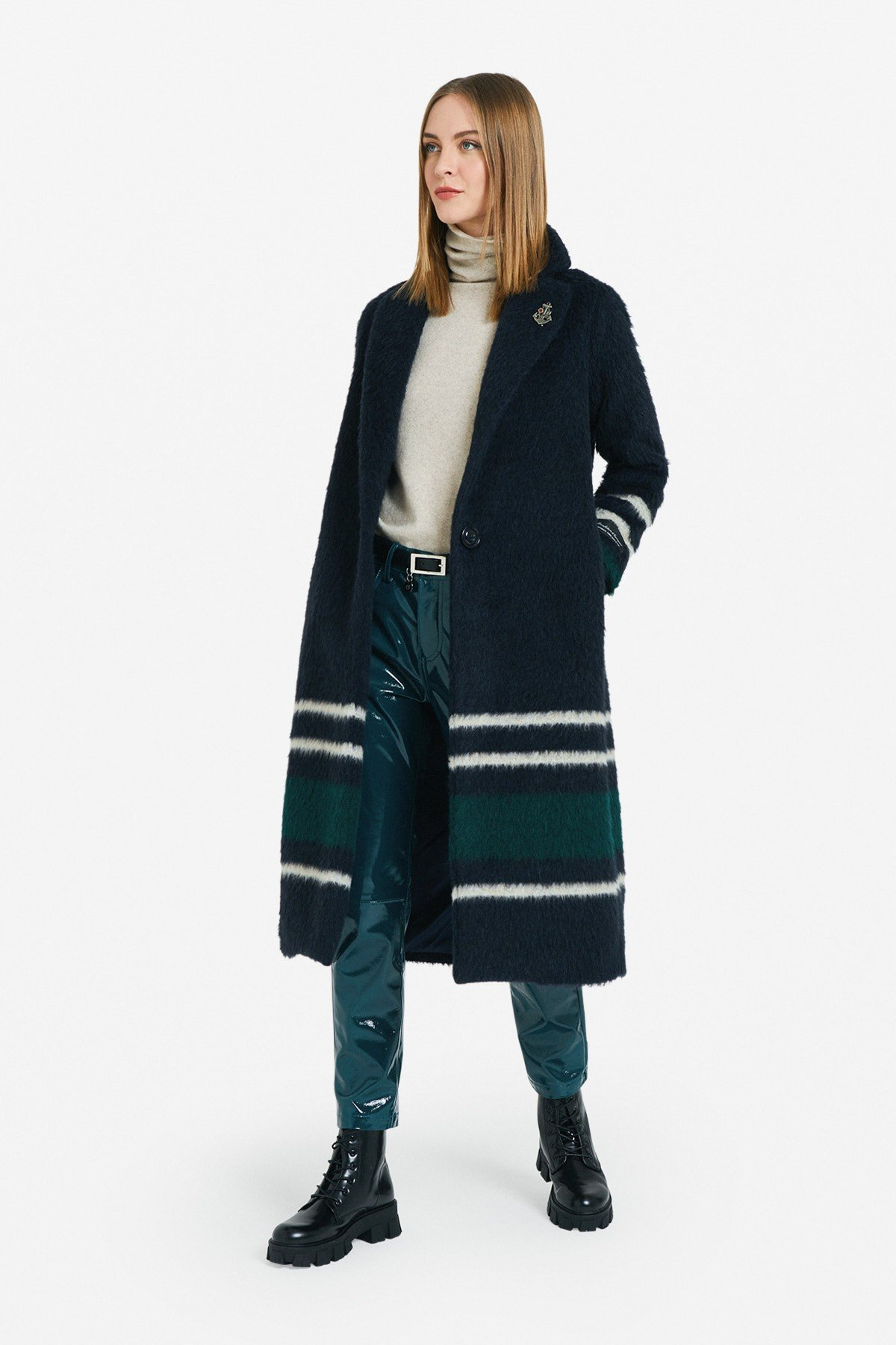1-button coat with stripes