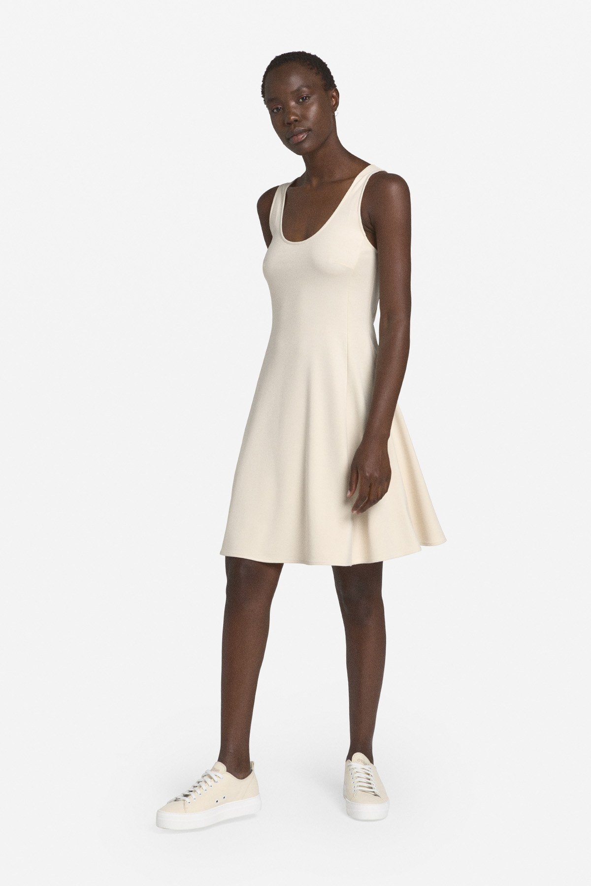 Mini dress with round neckline