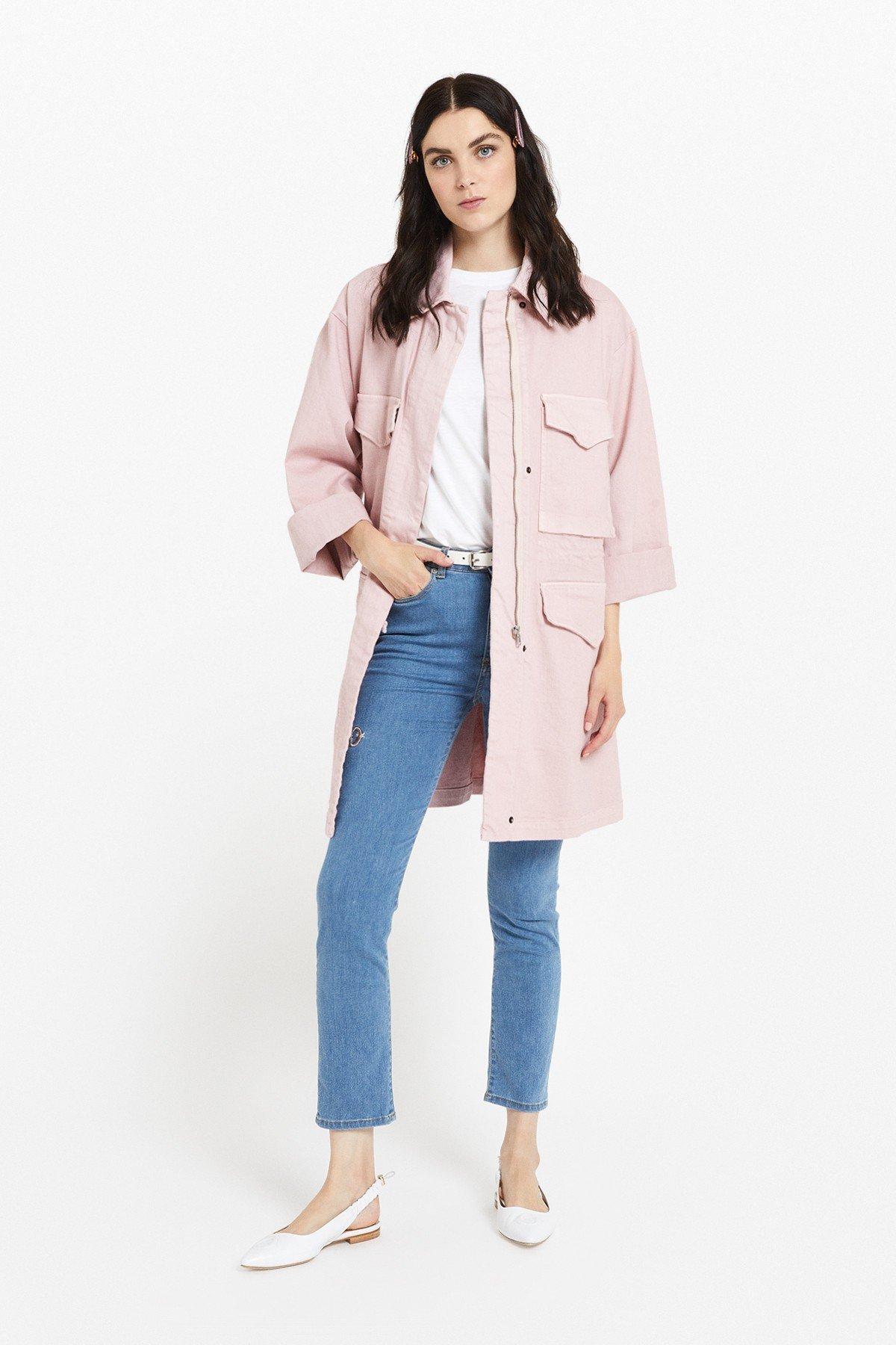 Denim midi jacket with maxi pockets