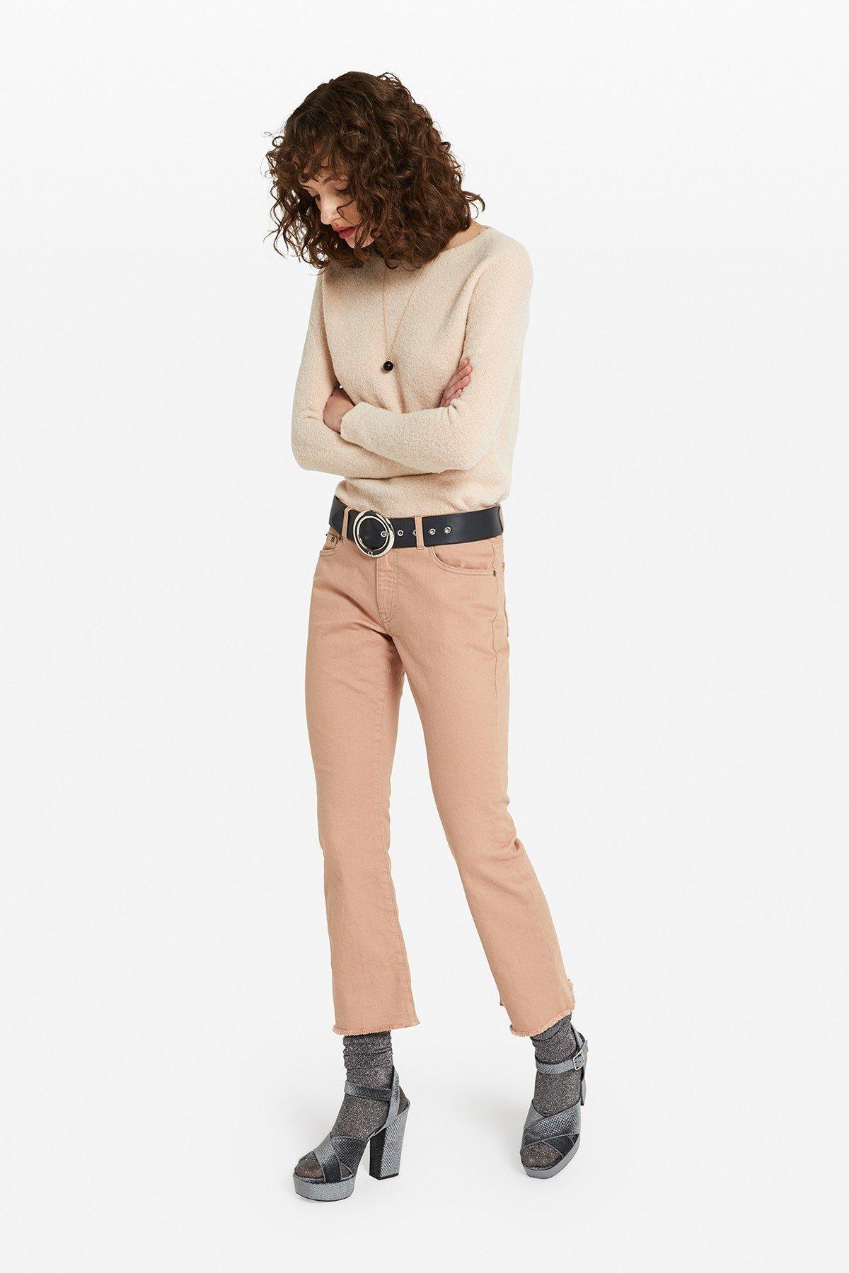 Kick flare denim trousers