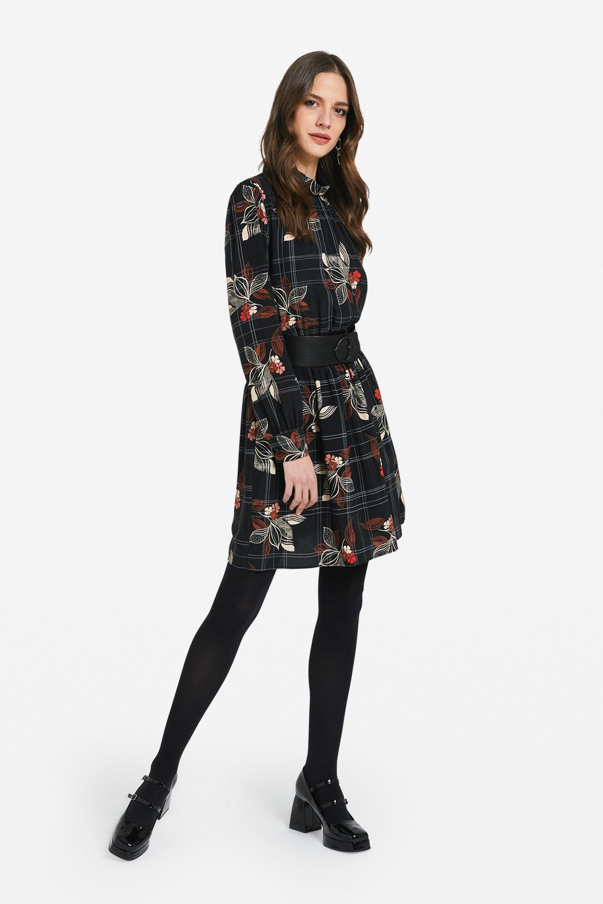 Viscose mini dress with porthole on the back