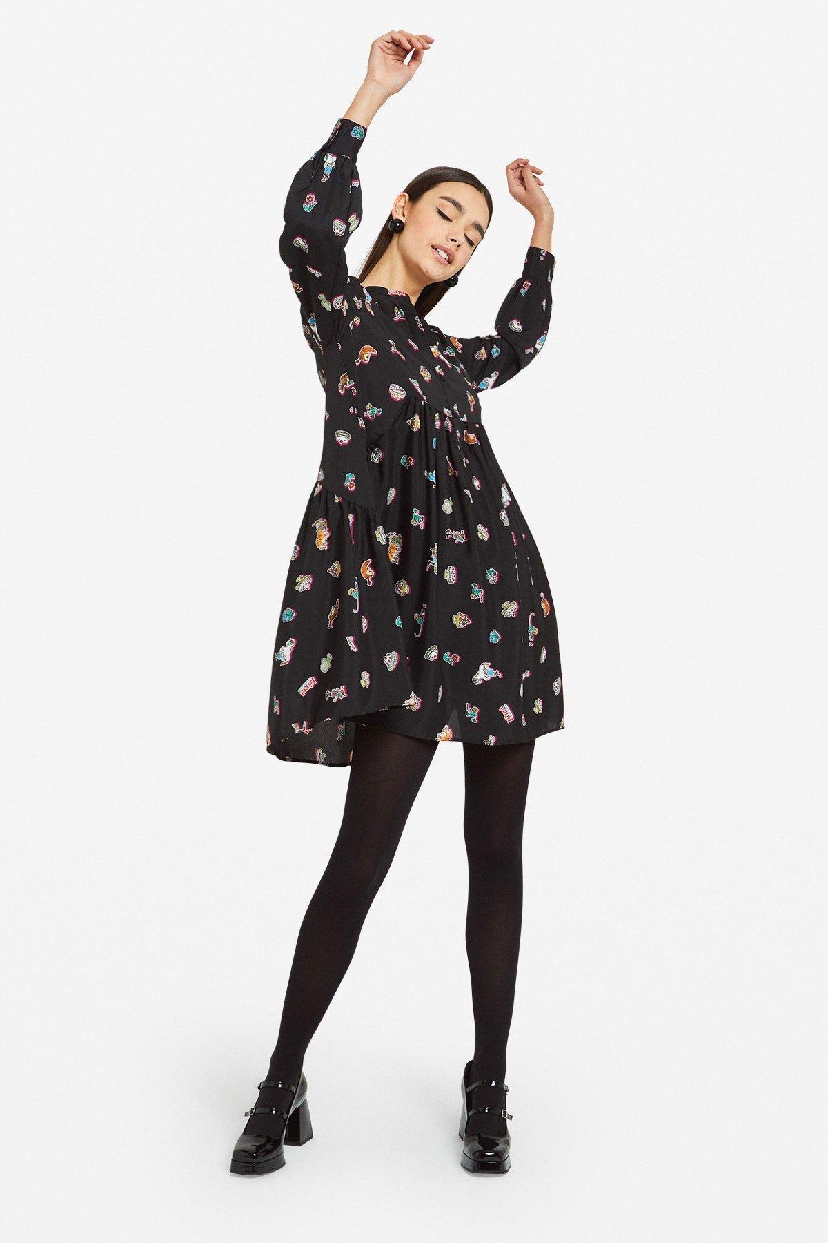 Mini dress with double ruffle