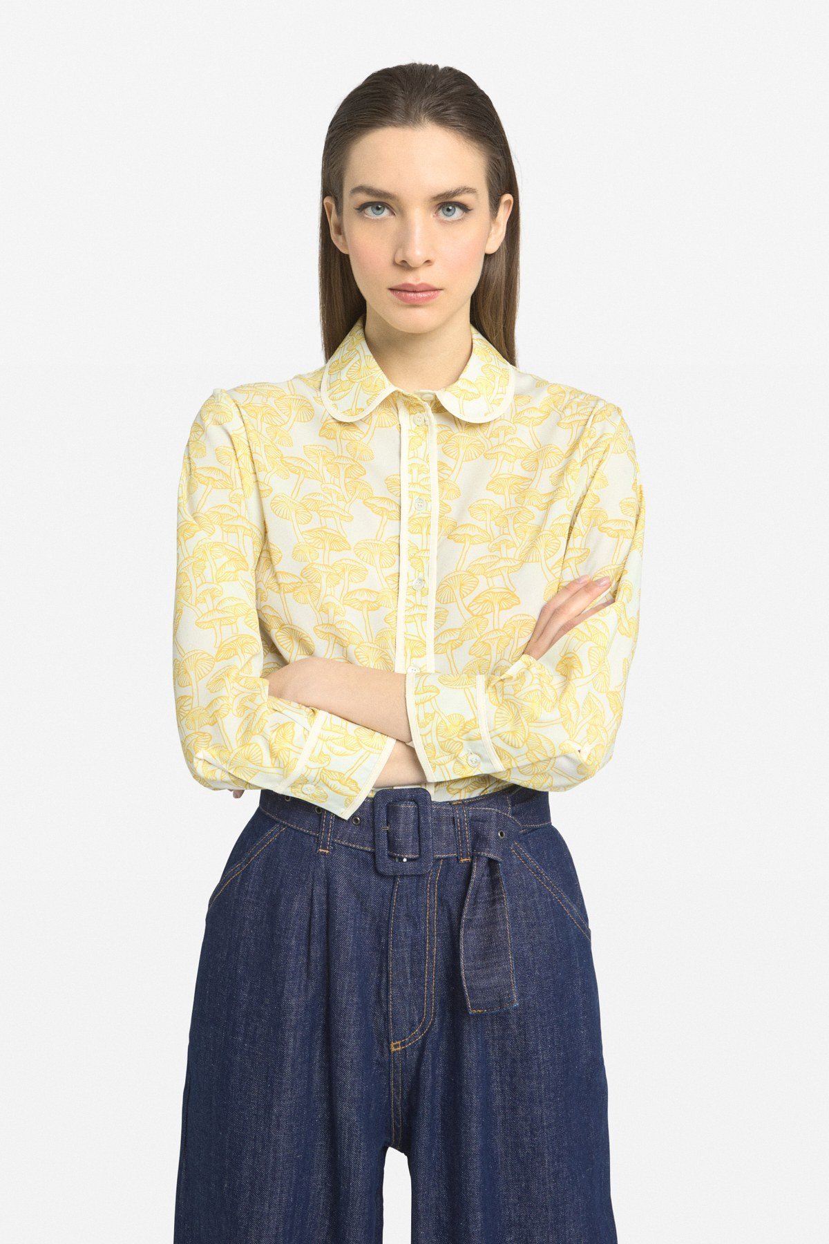 Printed shirt with round neckline