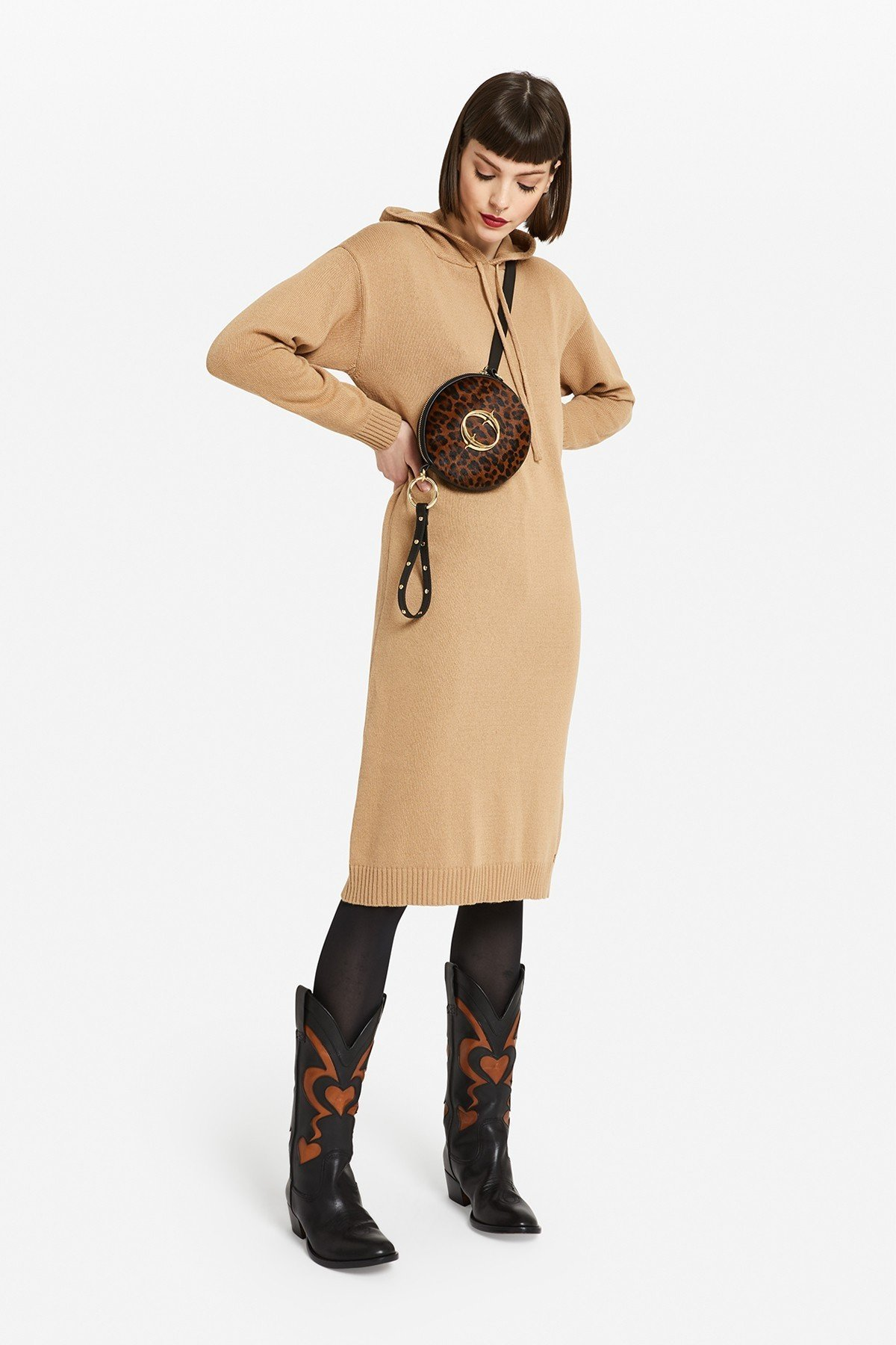 Knitted dress with hood