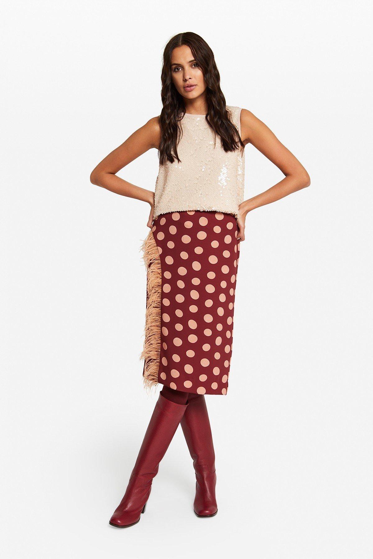 Longuette skirt with polka dots' print