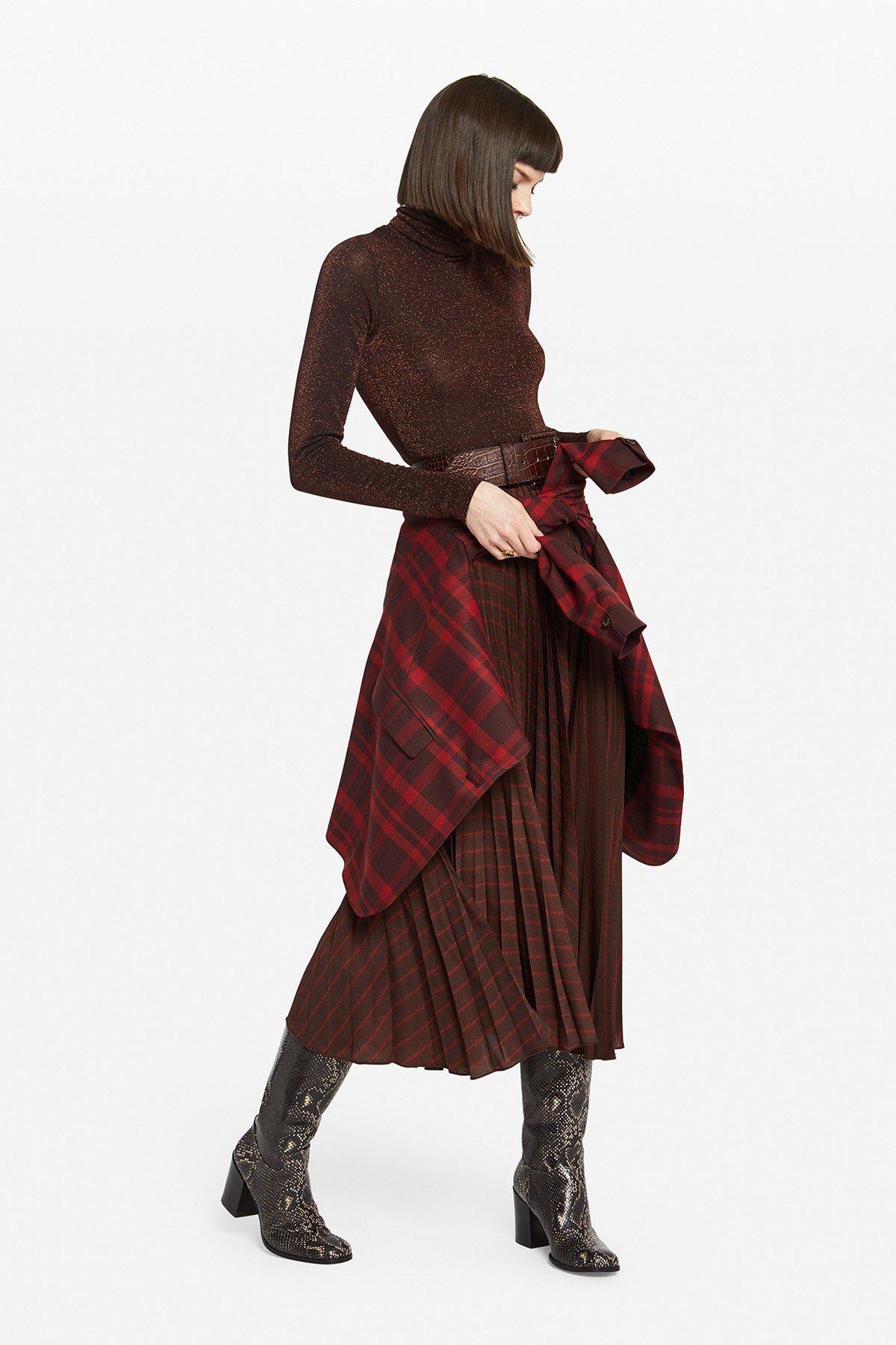 Pleating midi skirt