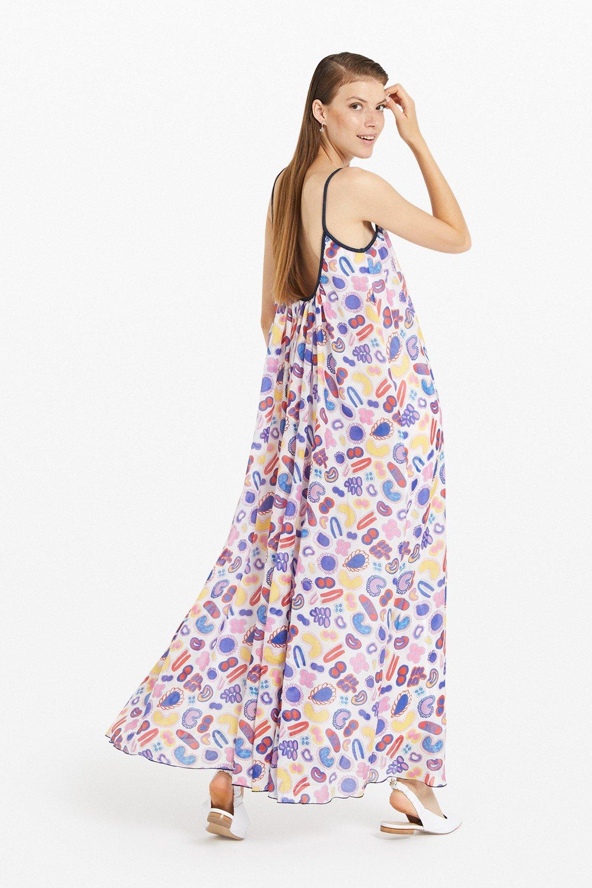 Cotton blend long dress with trims