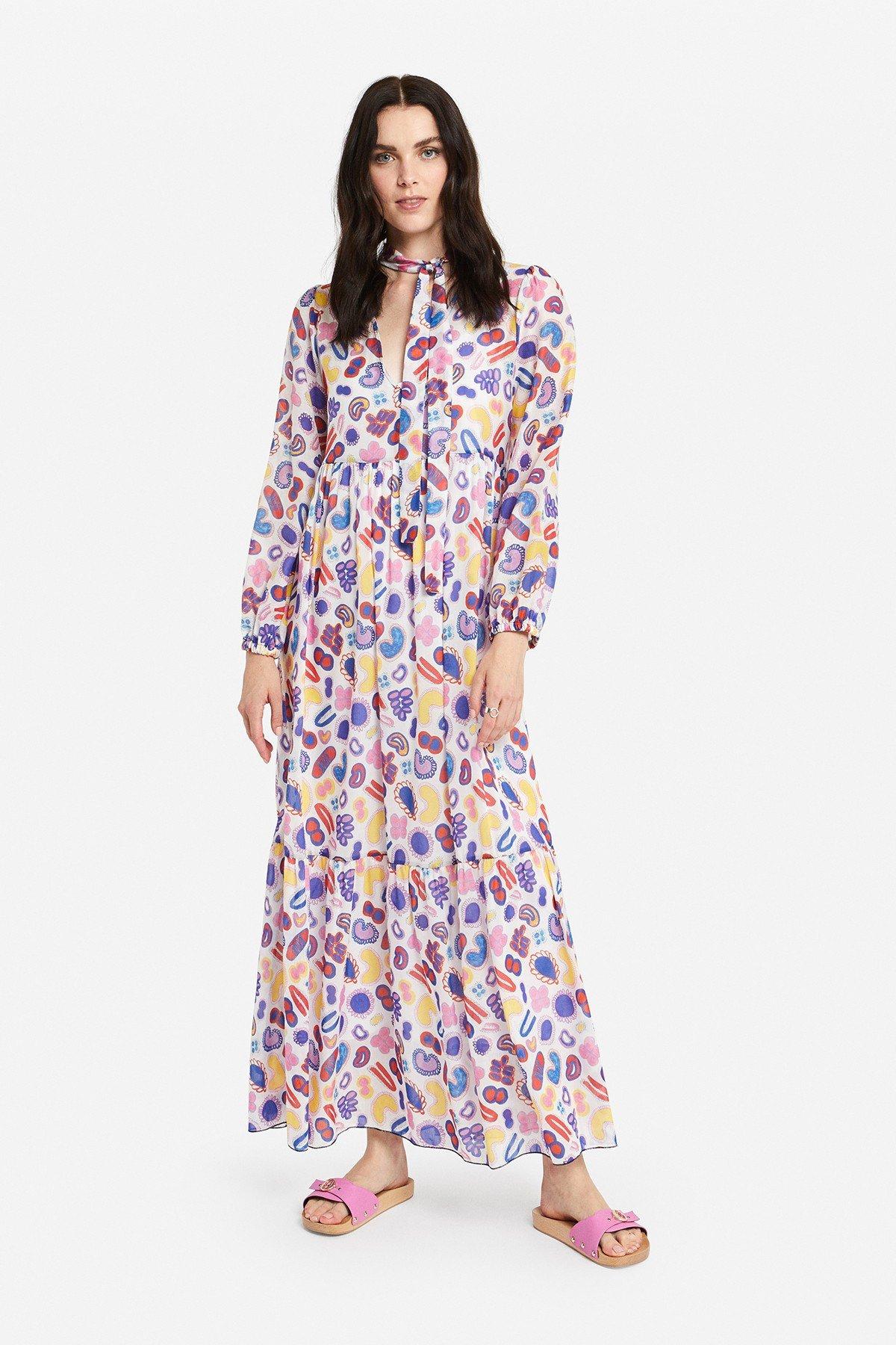 Cotton blend long dress with ruffles