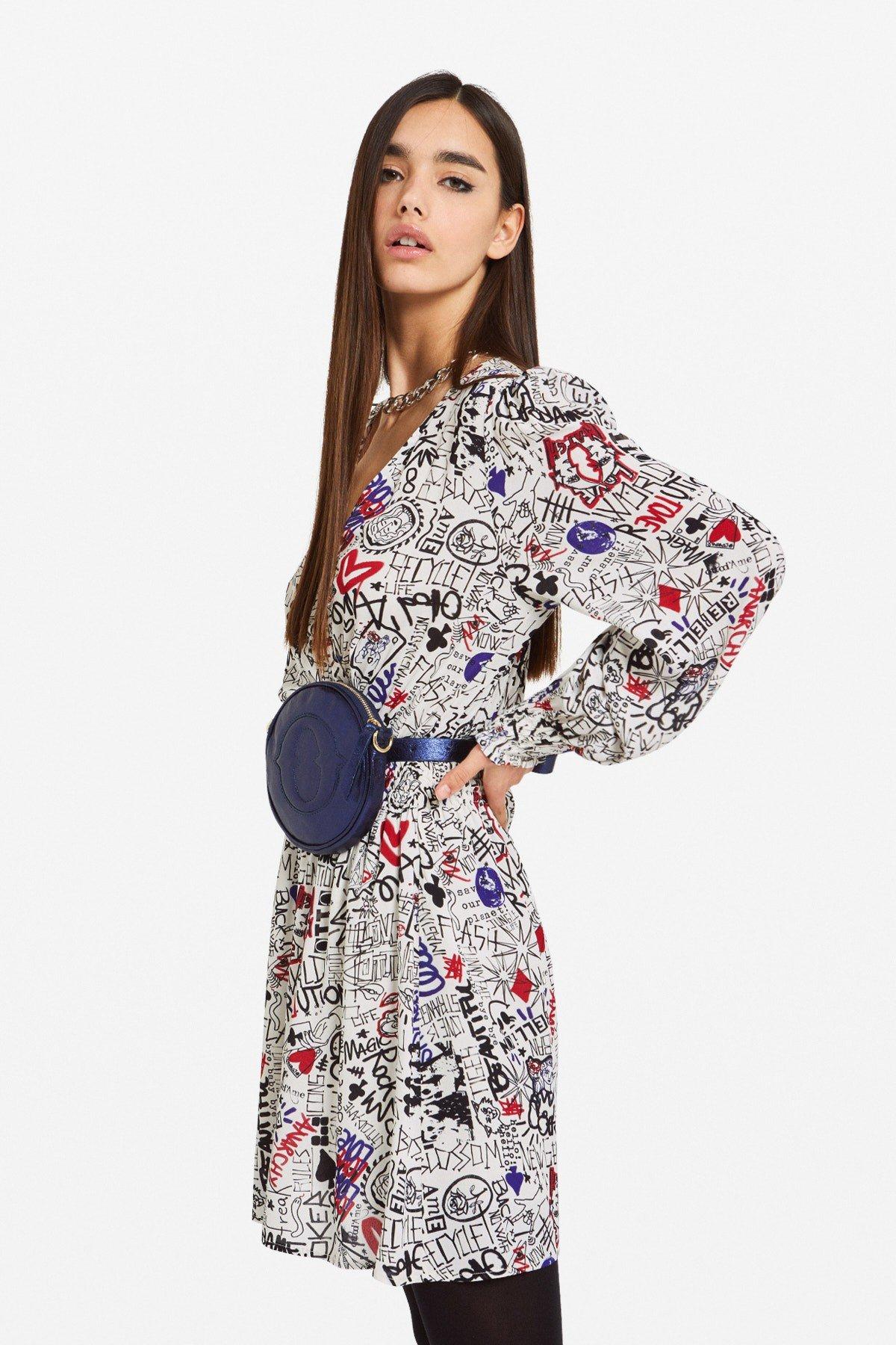 Viscose criss-cross mini dress