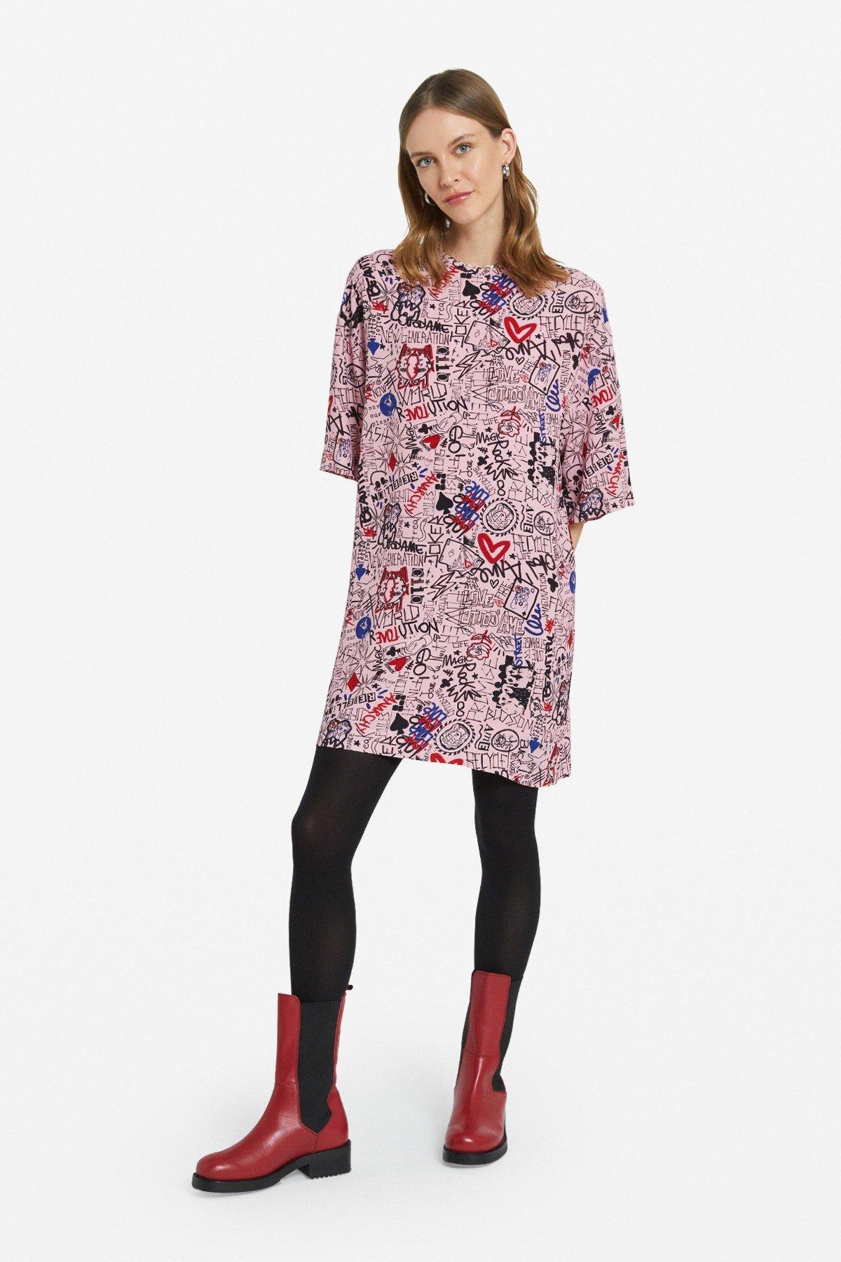 Flared viscose mini dress