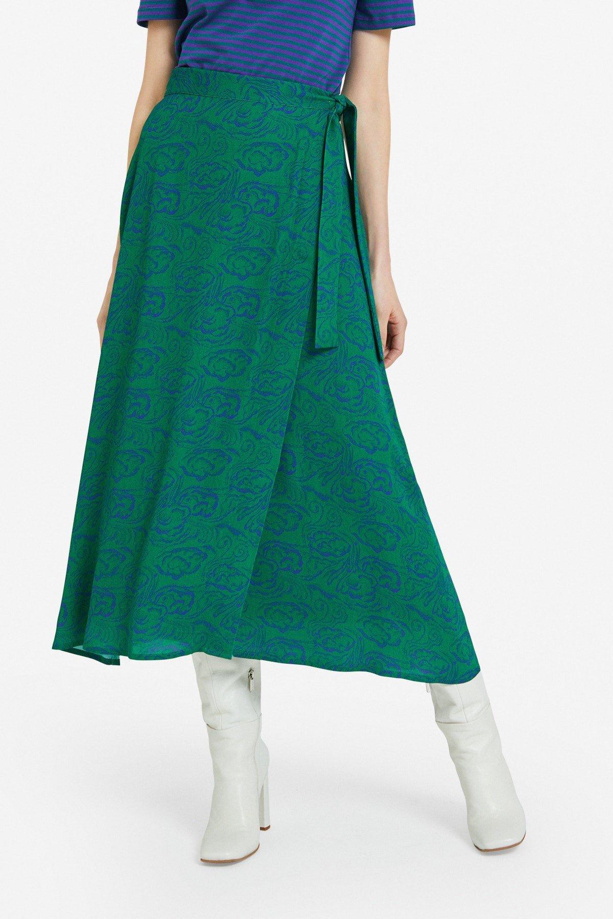 Viscose long skirt with sash