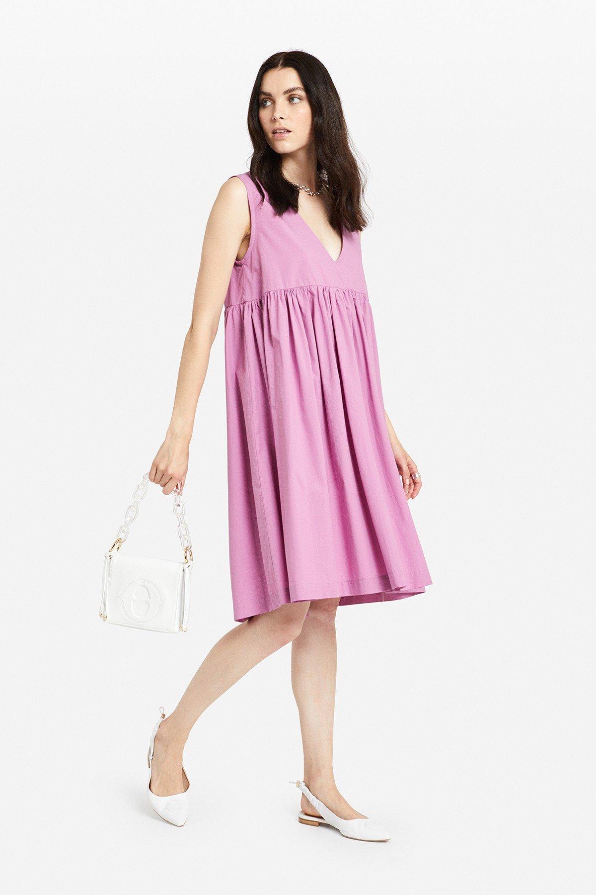 Poplin midi dress with V neckline