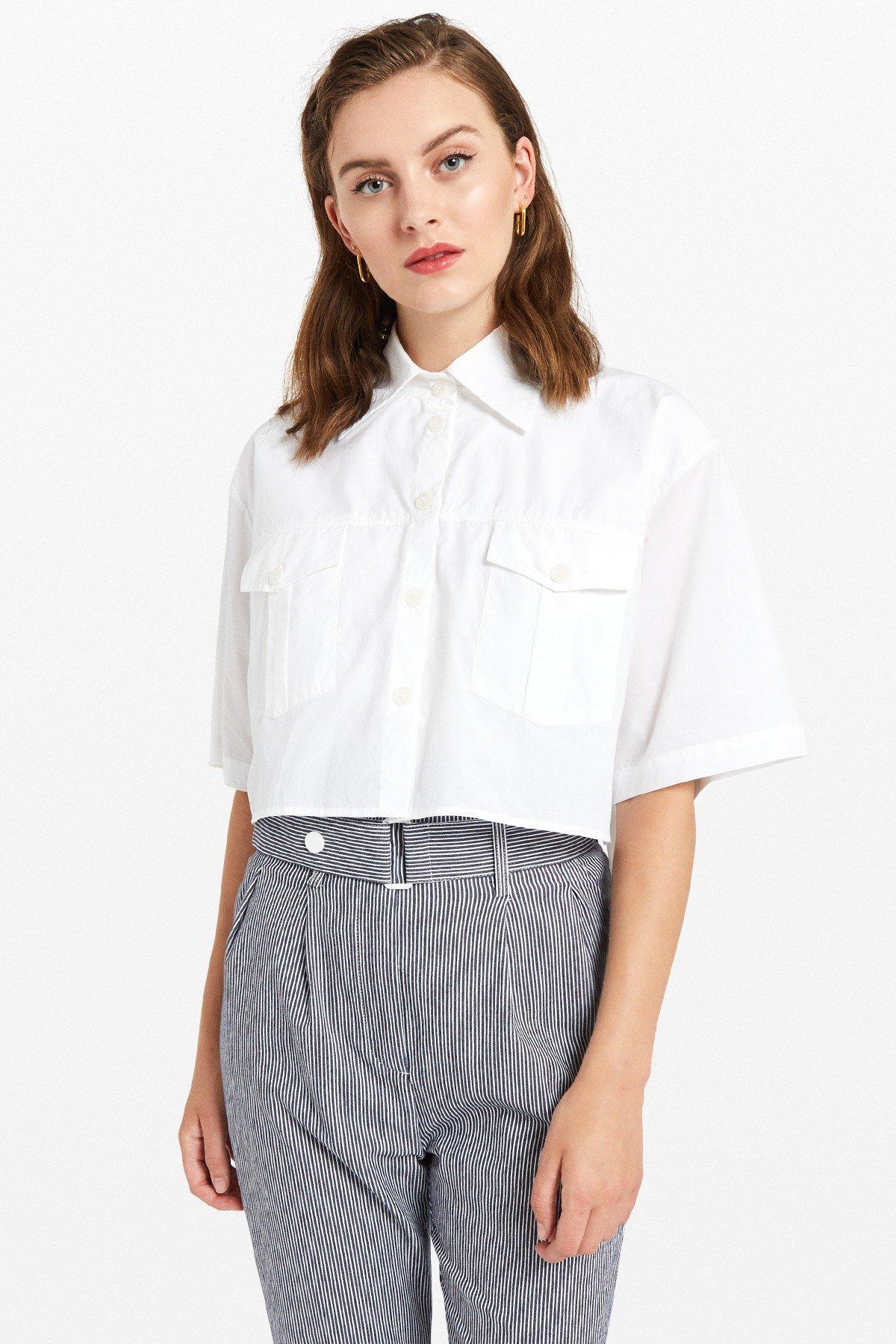 Poplin shirt with double garment's effect