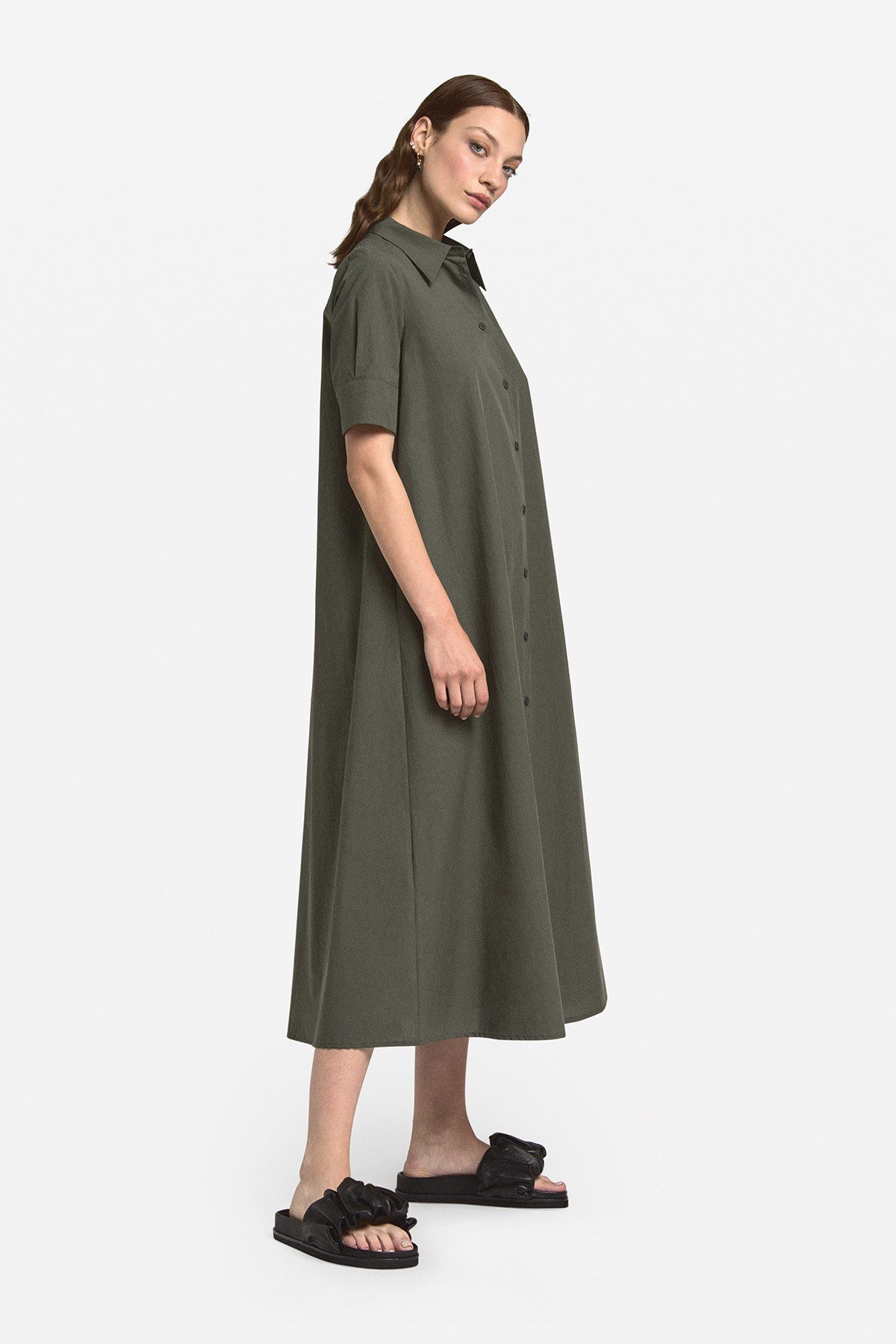 Poplin long chemisier dress