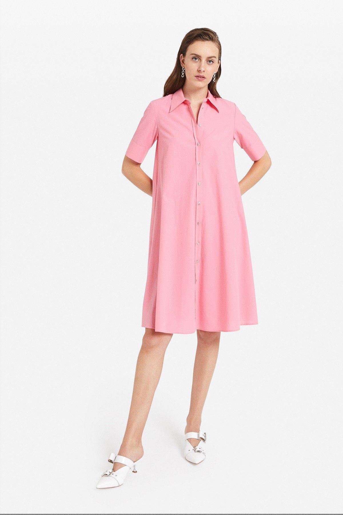 Poplin midi chemisier dress