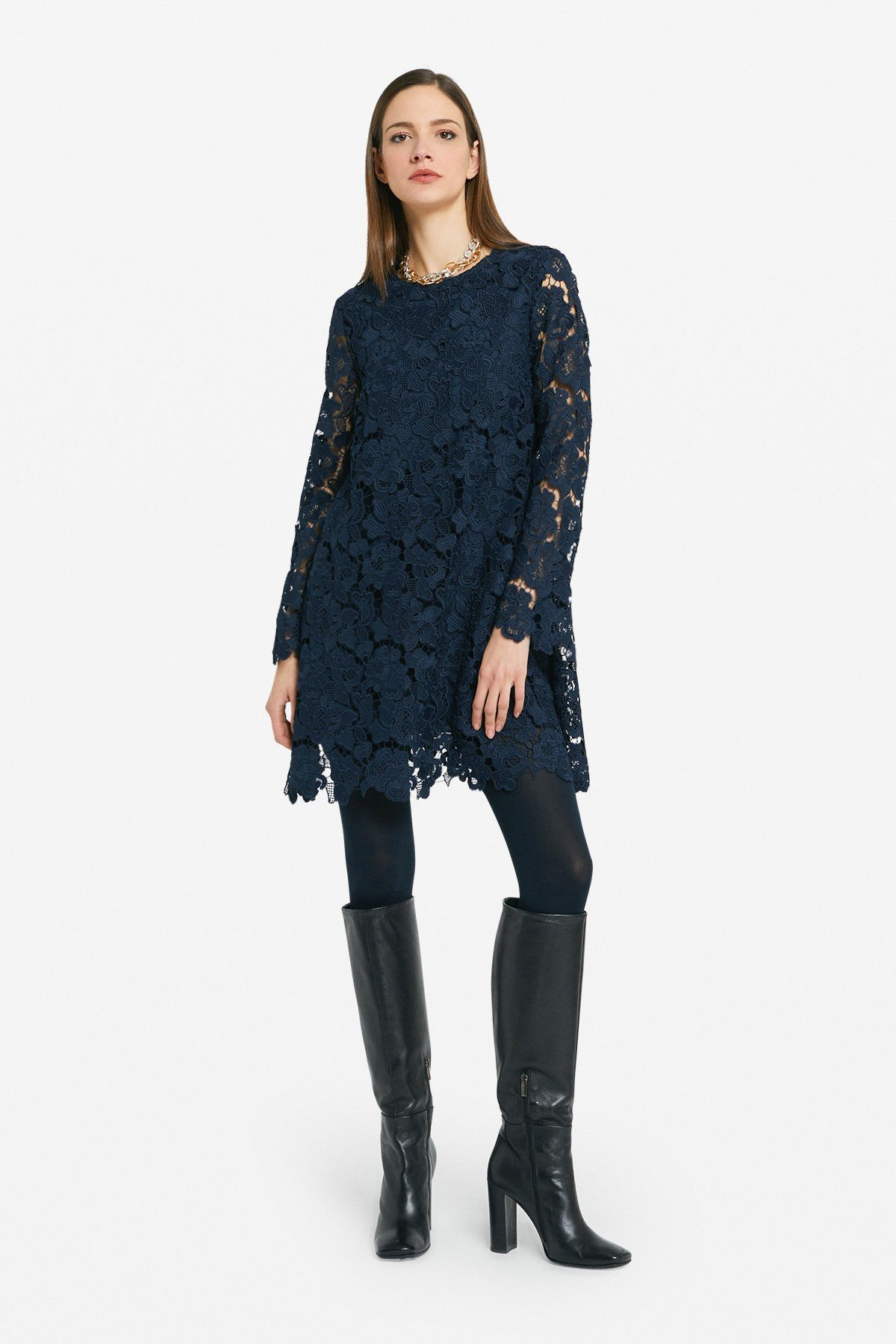 Flared mini dress with all over embroidery