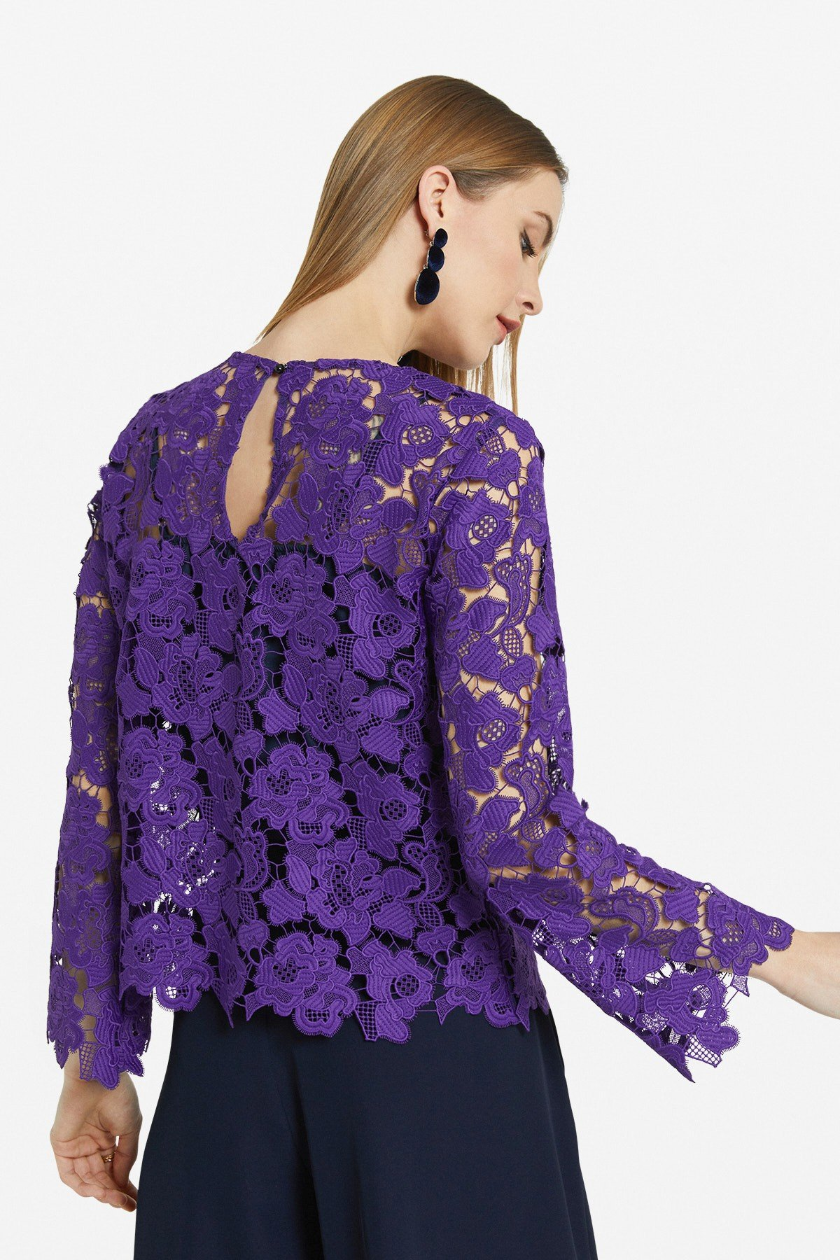 Flared blouse with embroidery