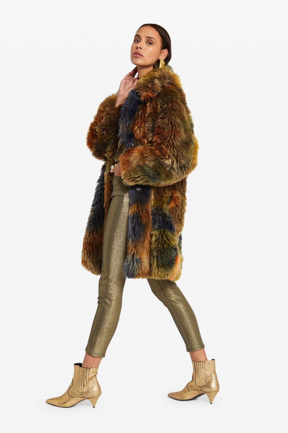 Eco-fur midi jacket
