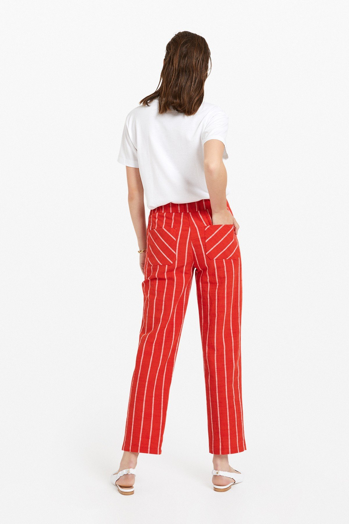 Striped cotton blend trousers
