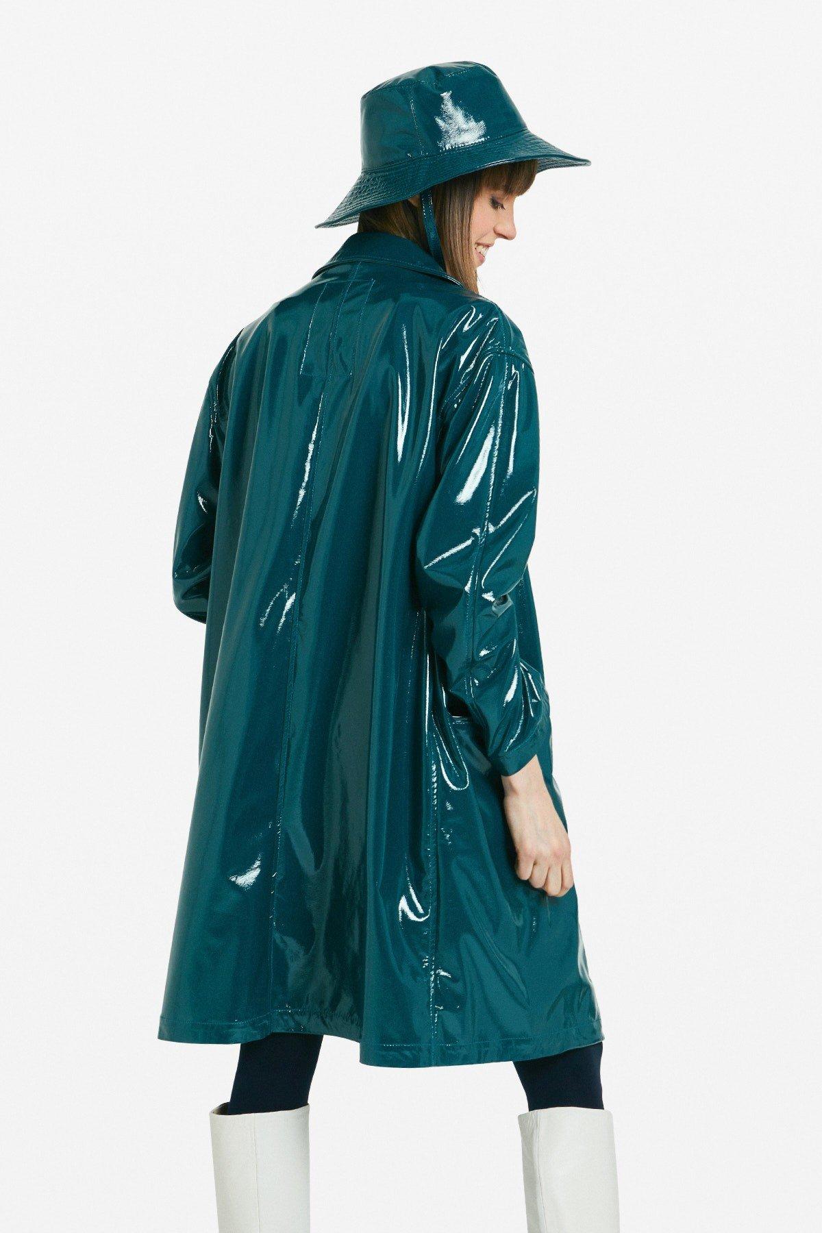 Patent leather raincoat