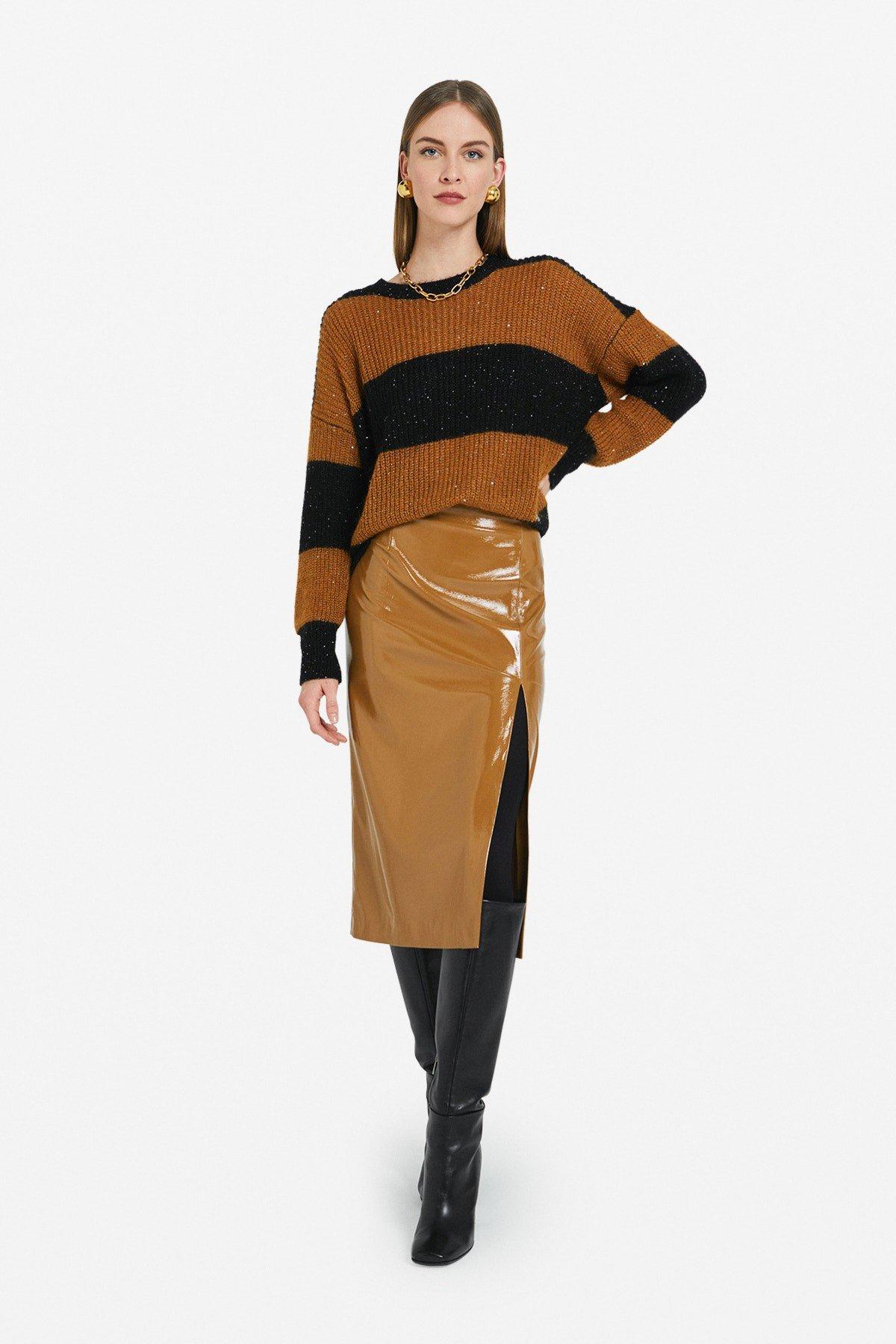 Patent leather midi skirt