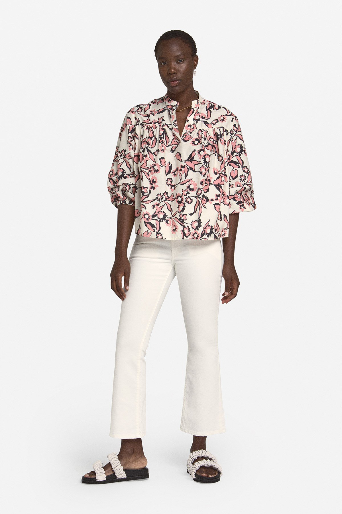 Cotton blouse with tucks