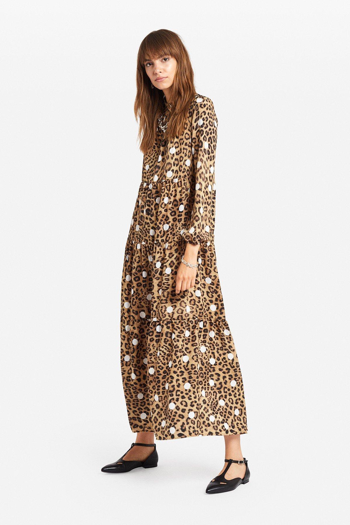 "Oversized dress with ""Animalier & Pois"" print"