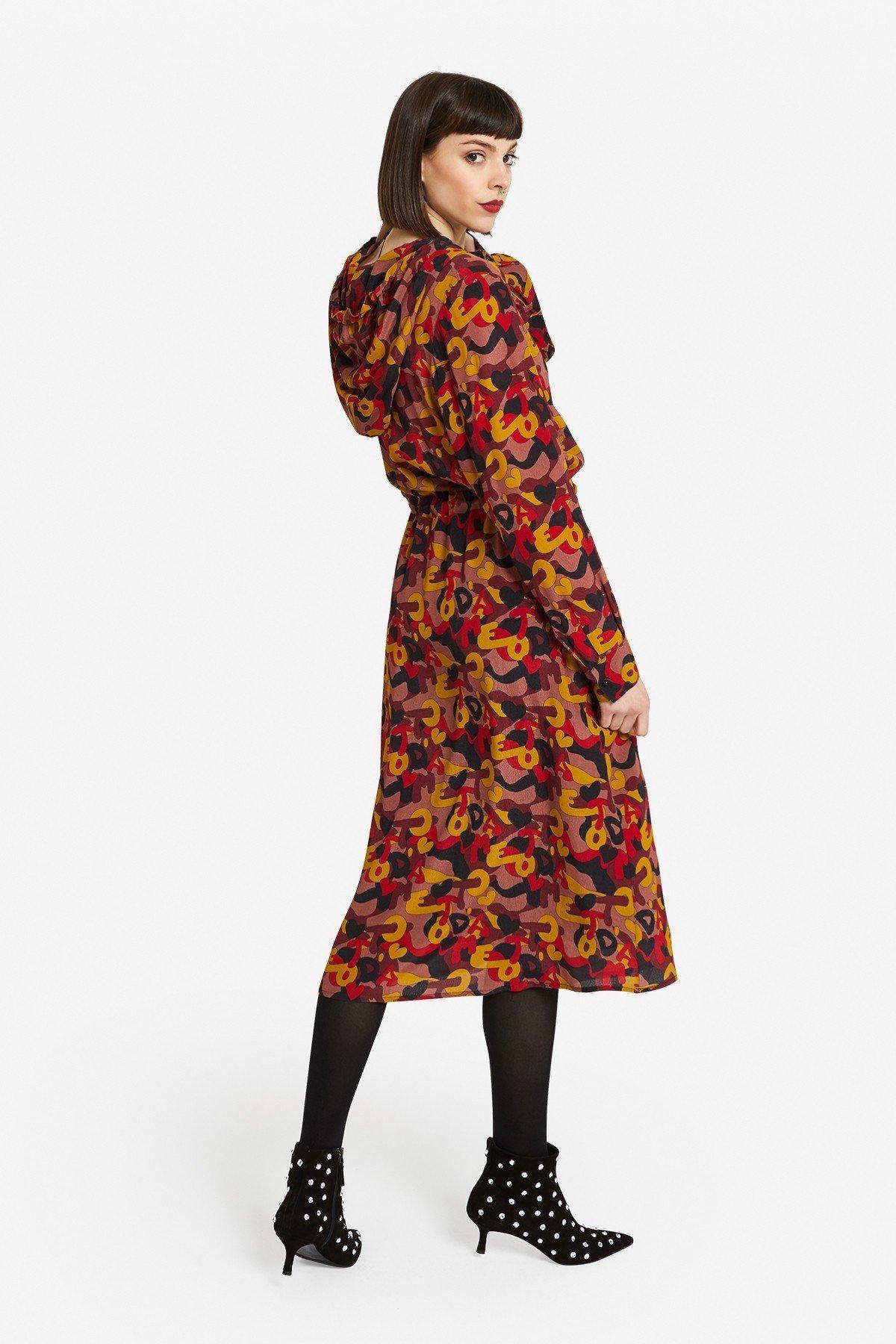 Viscose midi dress with hood