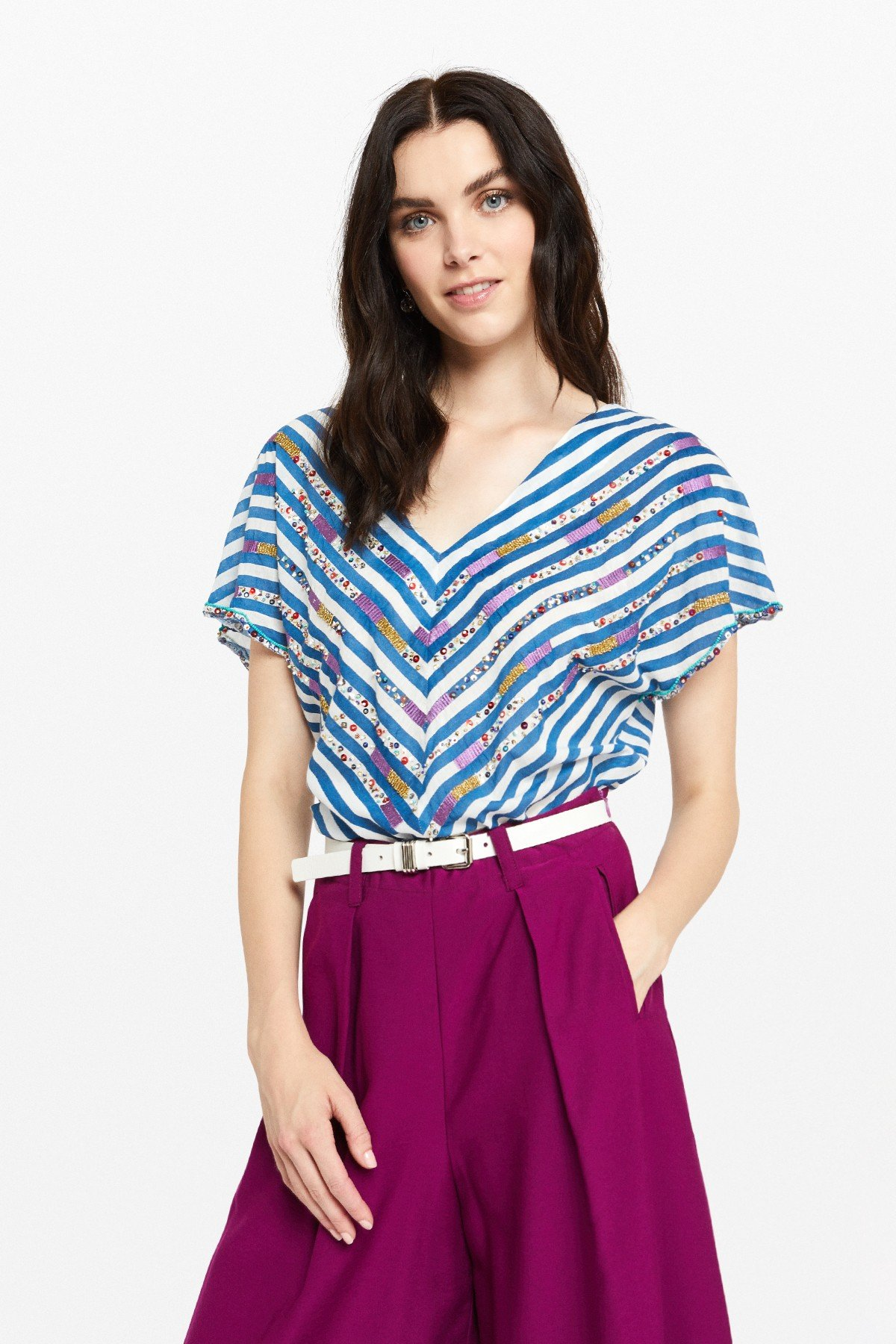 Striped cotton T-shirt with appliques