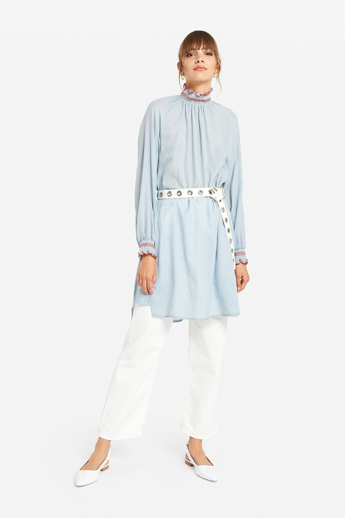 Polo necked cotton mini dress