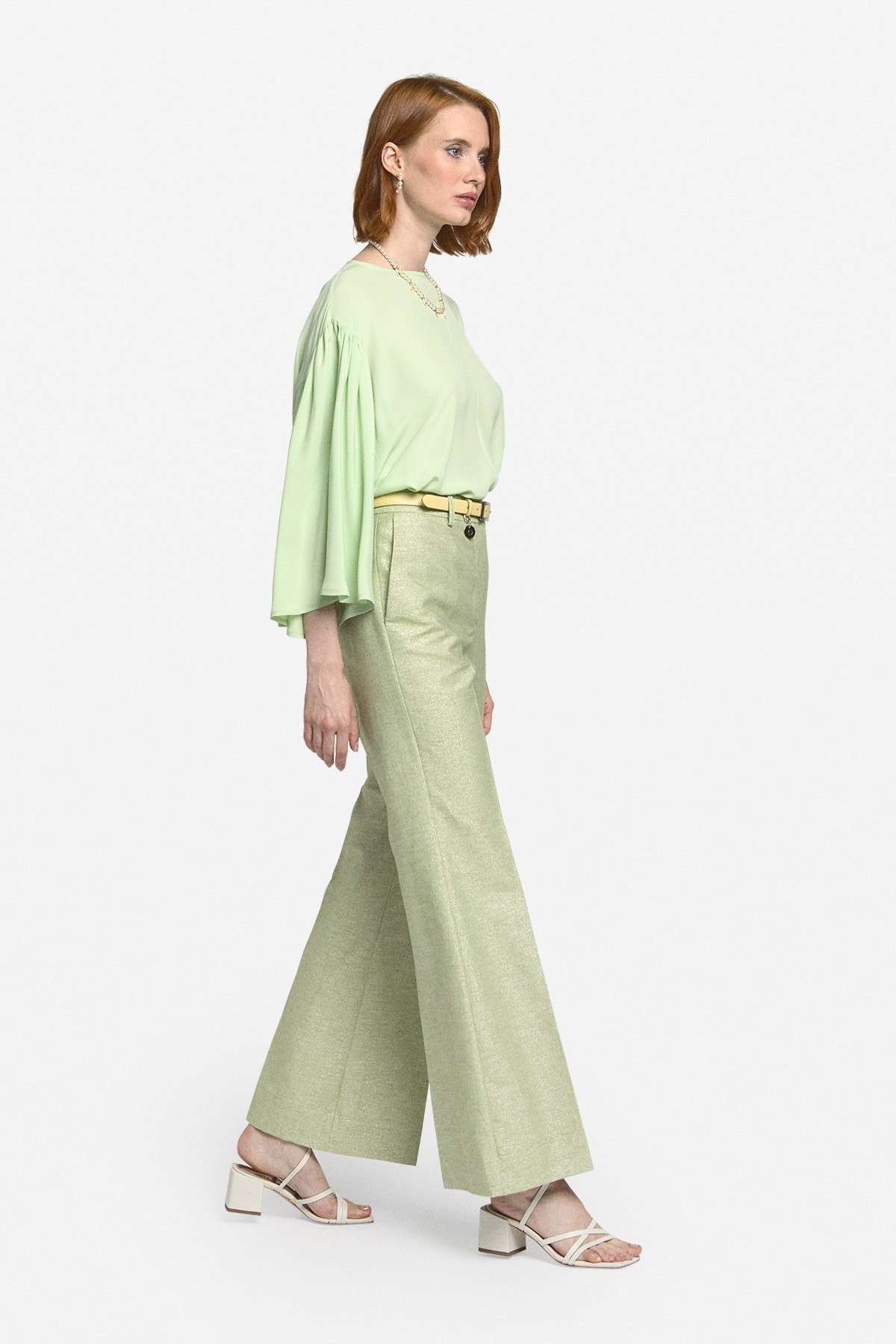 Linen blend palazzo trousers