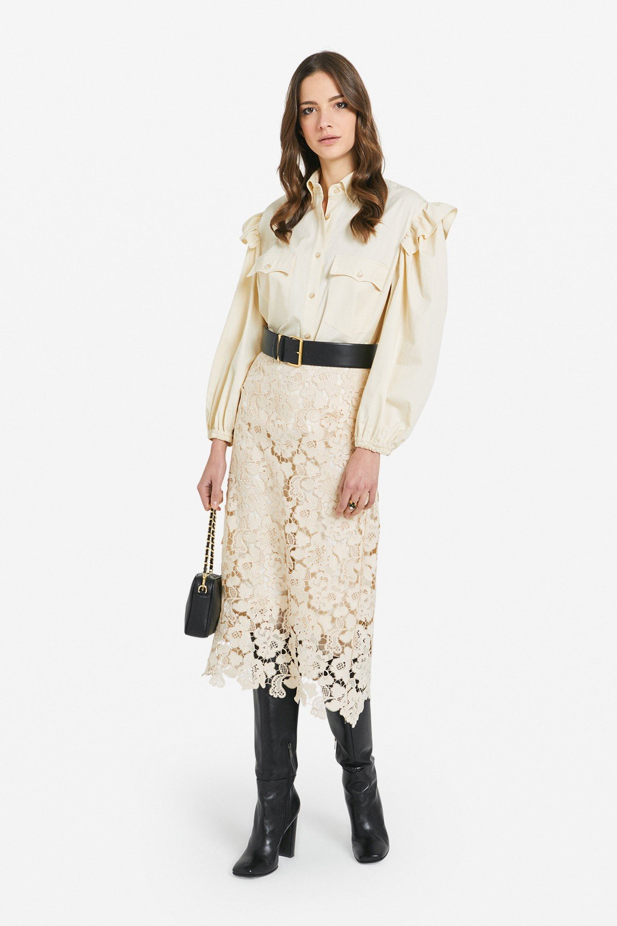 Cotton blouse with ruches