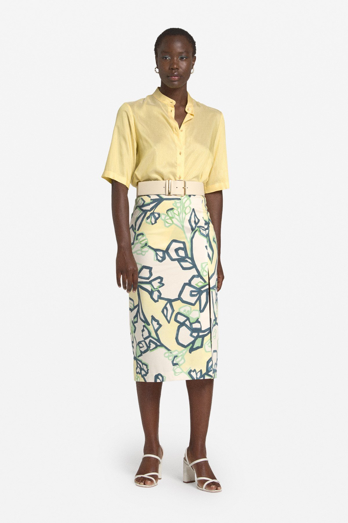 Patterned cotton longuette skirt