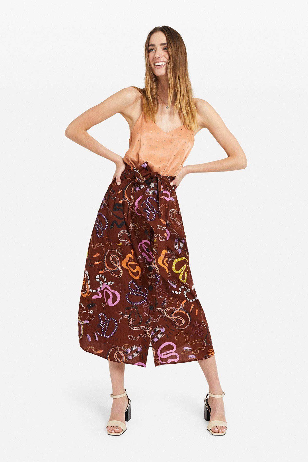 "Cotton midi skirt  with ""Snake"" print"