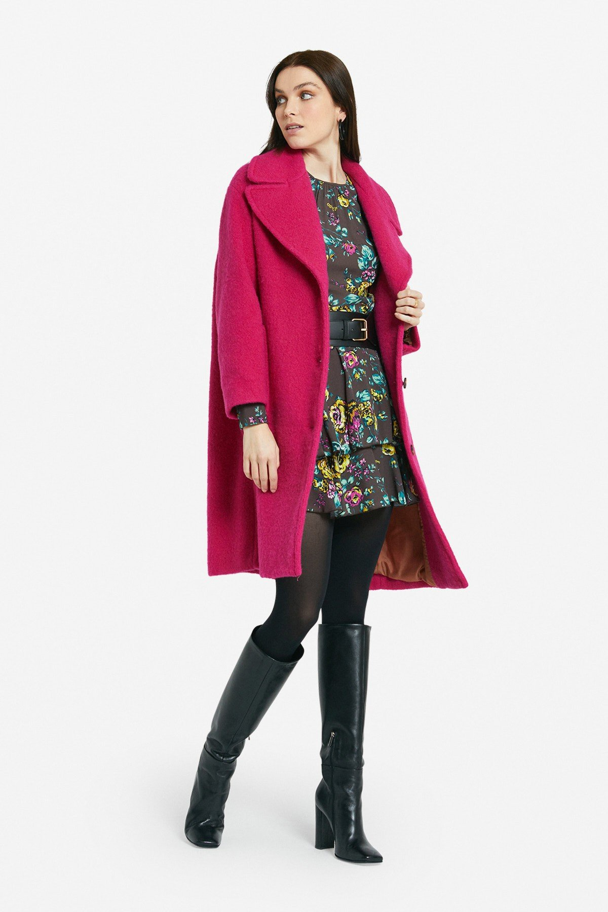 Wool blend coat with contoured lapel