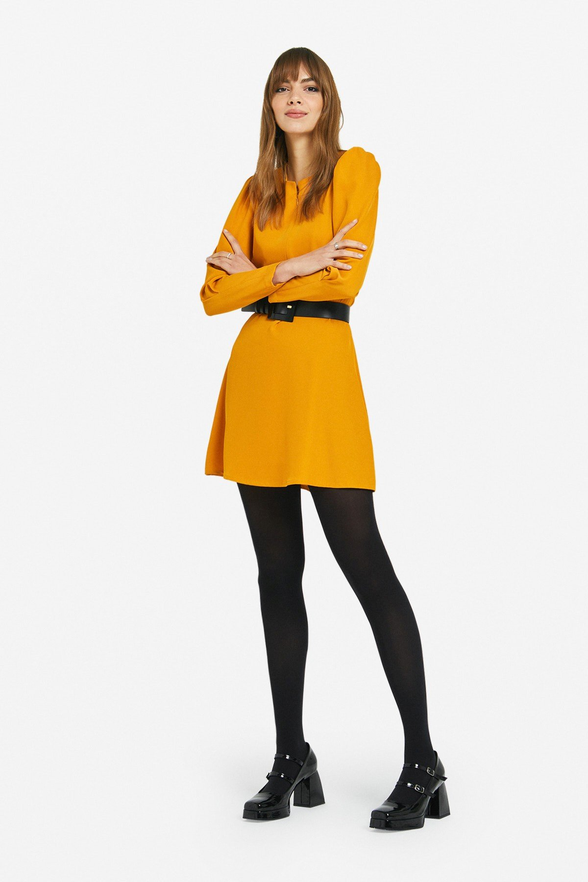 Mini dress with tucks and zipper