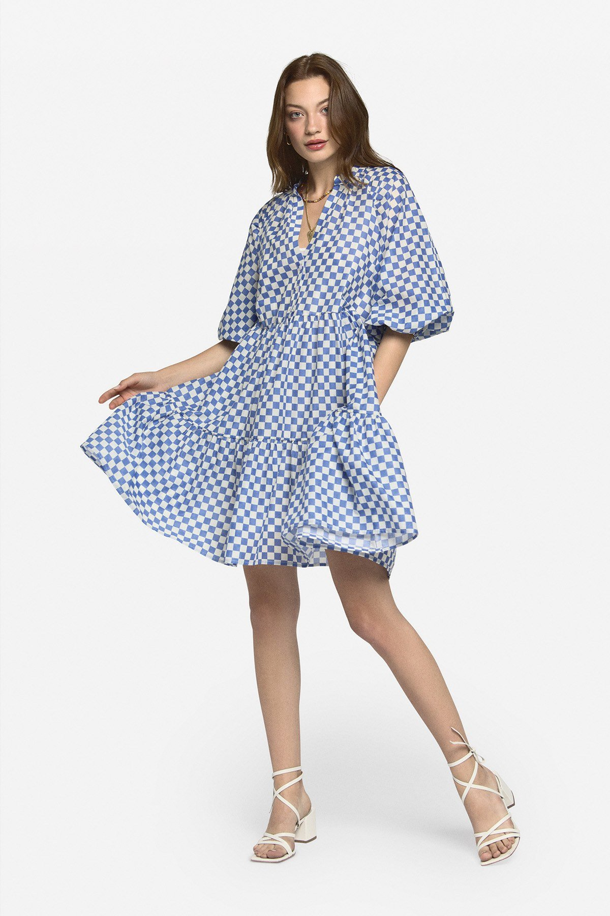 Cotton mini dress with ruffles