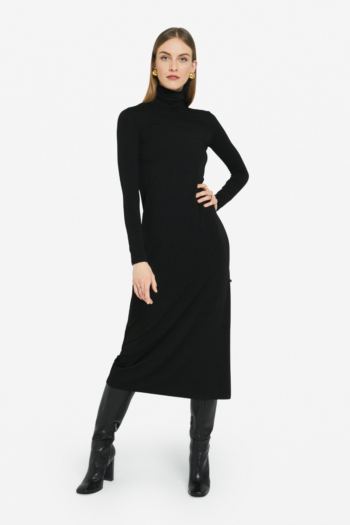 Stretch viscose long dress